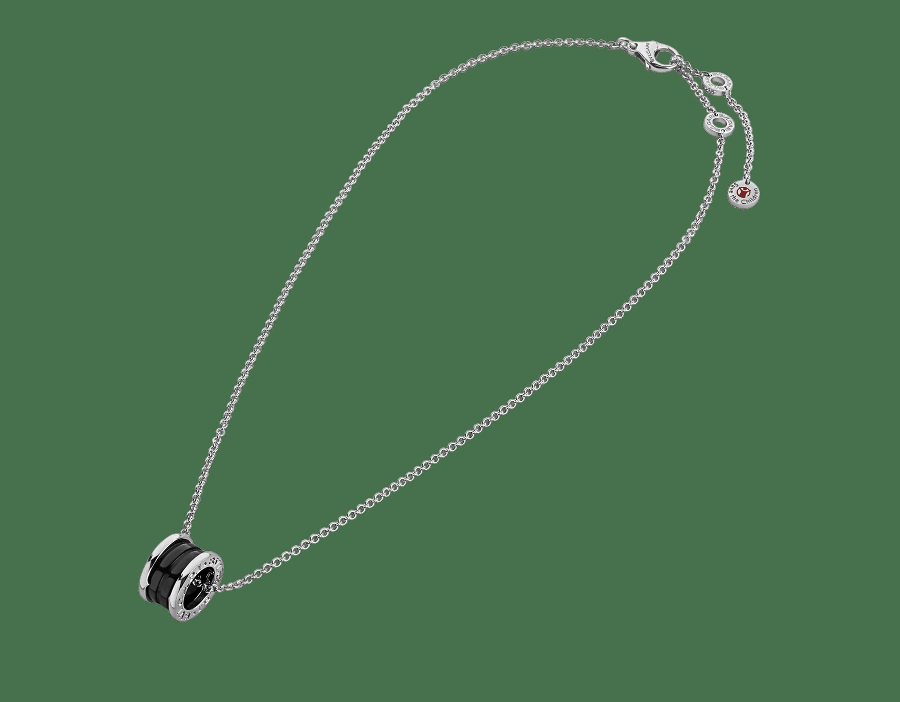 セーブ・ザ・チルドレン ネックレス。 ブラックセラミックをあしらったスターリングシルバー製ペンダントトップ(直径1.5cm、厚み1cm)およびスターリングシルバー製チェーン(38-45cm)。 349634 image 2