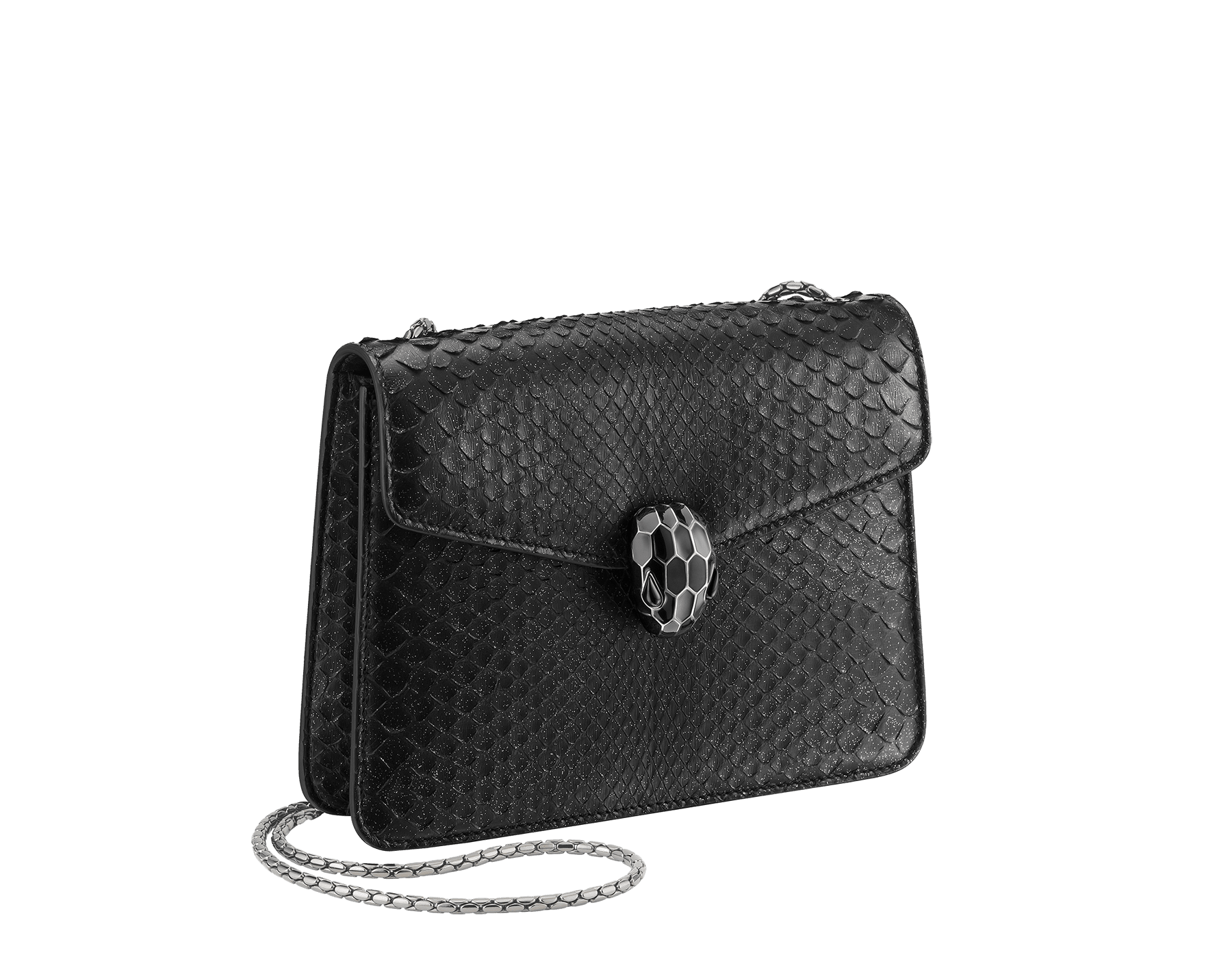 """Serpenti Forever"" crossbody bag in black Diamond Glam python skin. Iconic snake head closure in dark ruthenium plated brass enriched with black enamel and black onyx eyes. 288869 image 2"