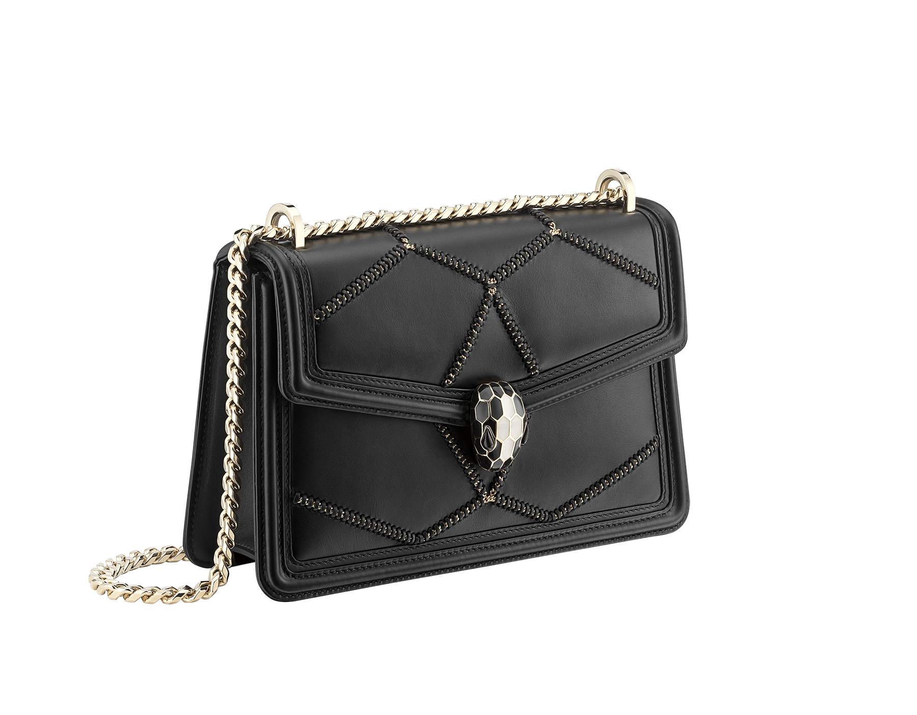 Serpenti Diamond Blast shoulder bag in white agate smooth calf leather with geometric chain motif in light gold finishing.Snakehead closure in light gold plated brass decorated with black and white enamel, and black onyx eyes. 922-NGC image 2