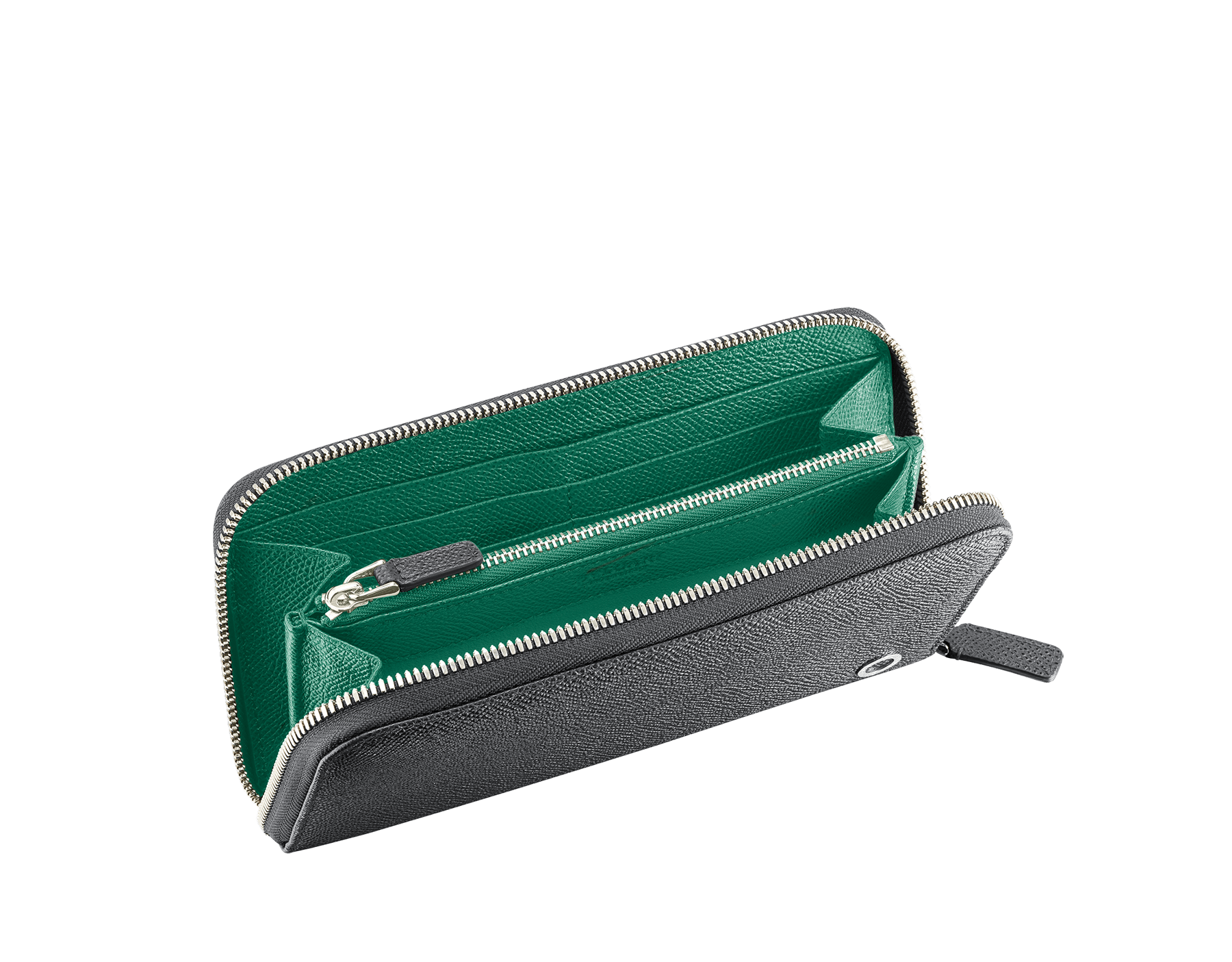 BVLGARI BVLGARI zipped wallet for men in charcoal diamond and emerald green grain calf leather and charcoal diamond nappa lining. Iconic logo décor in palladium plated brass. 289101 image 2