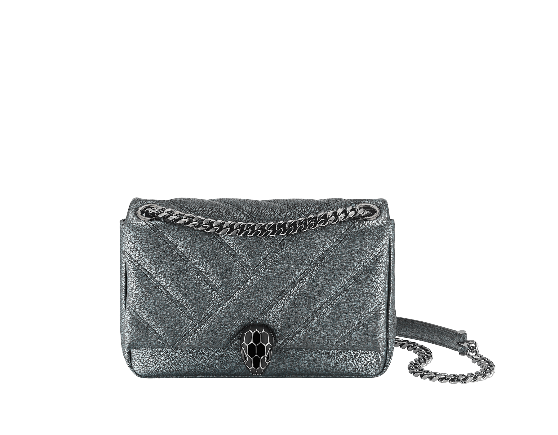 """Serpenti Cabochon"" shoulder bag in soft quilted white agate goatskin with a pearled, iridescent effect and a graphic motif. Brass palladium plated tempting snakehead closure in matte black and shiny white enamel and black onyx eyes. 1094-PSL image 1"