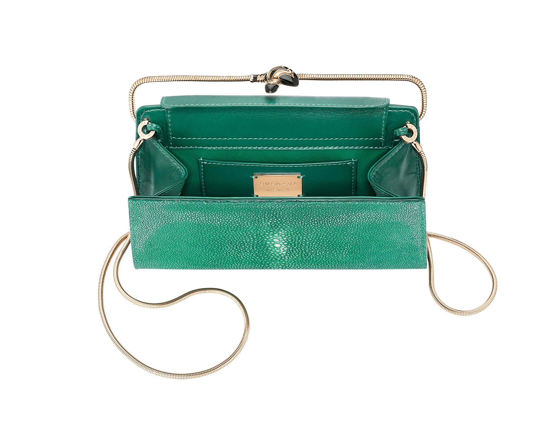 Serpenti Tubogas clutch in green galuchat skin with brass light pink gold plated snake body shaped frame closure with black enamel. 526-001-0671S image 4