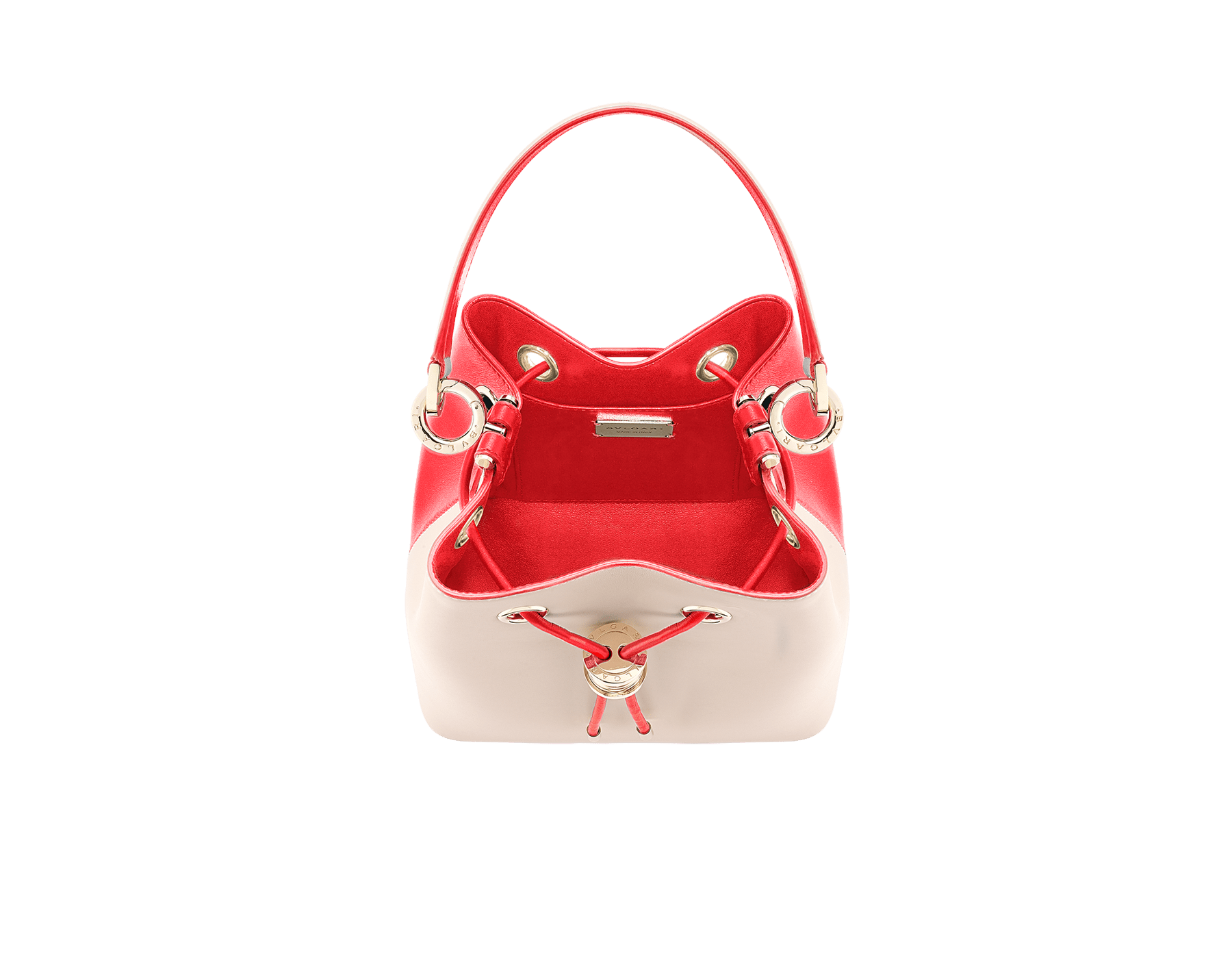 Bucket B.zero1 in milky opal and sea star coral smooth calf leather and sea star coral nappa internal lining. Hardware in light gold plated brass, featuring a B.zero1 décor. 288208 image 4