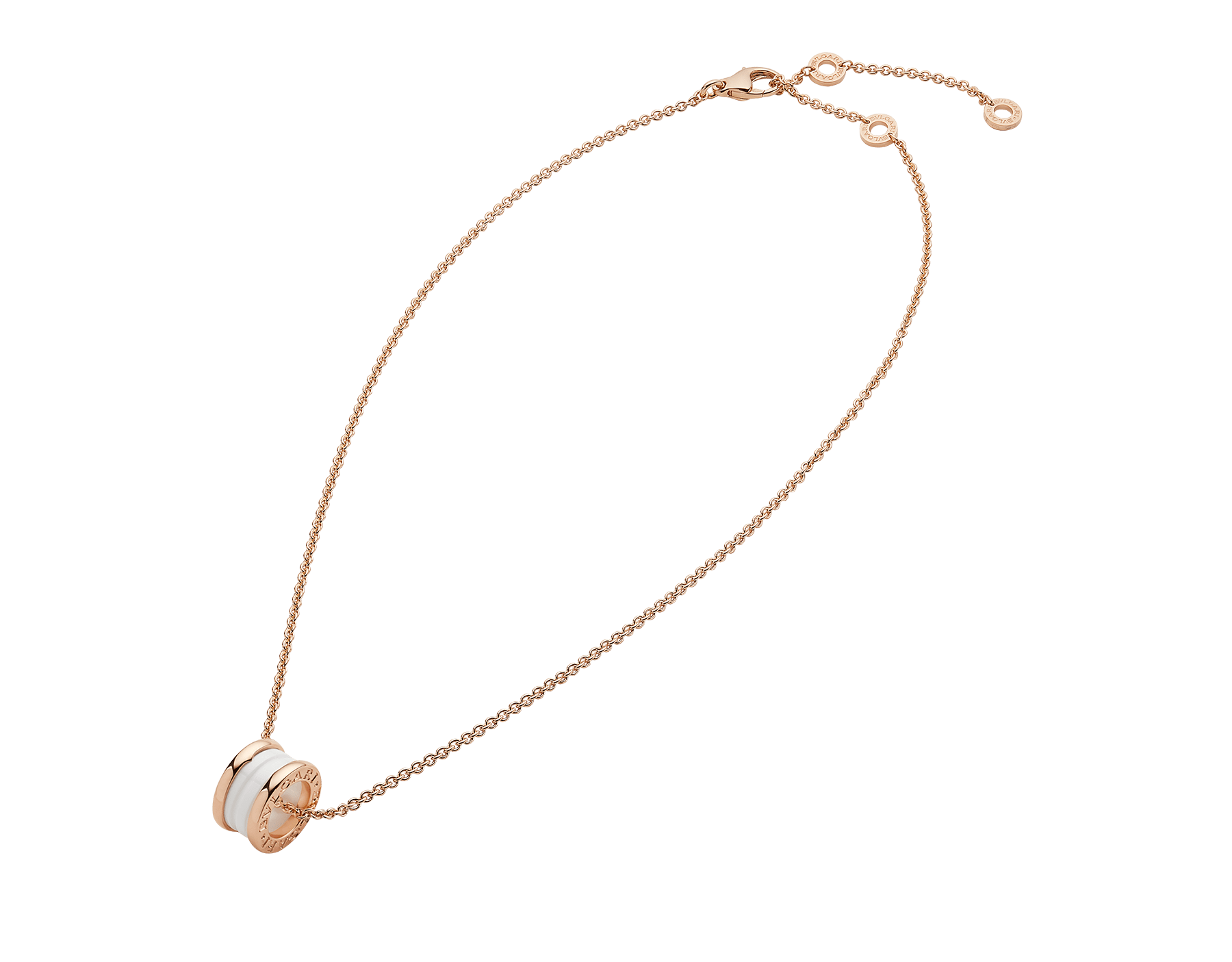 B.zero1 necklace with 18 kt rose gold chain and with 18 kt rose gold and white ceramic pendant. 346082 image 2