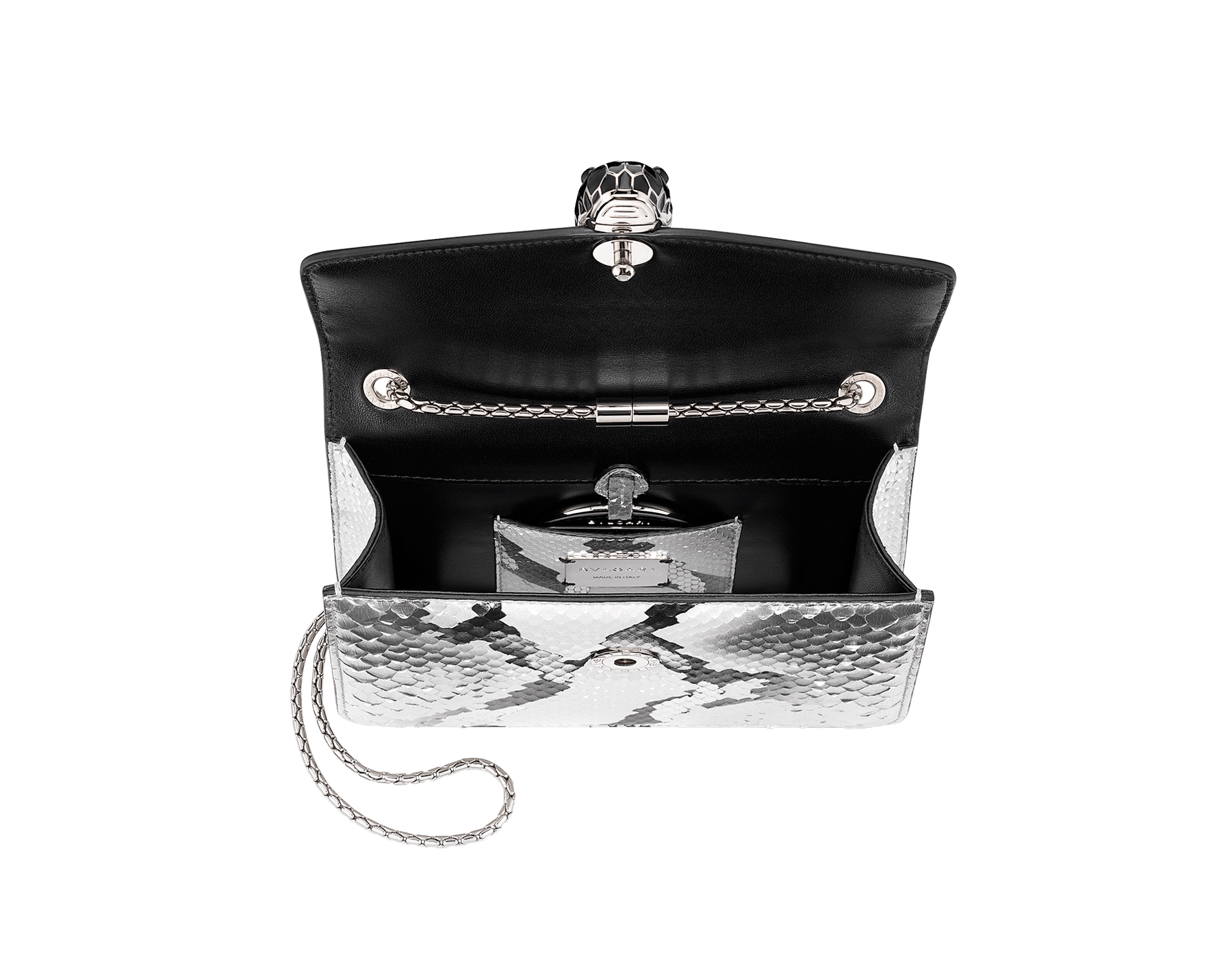 """Serpenti Forever"" crossbody bag in roccia ""Mineral"" python skin. Iconic snakehead closure in light gold plated brass enriched with black and hawk's eye enamel, and black onyx eyes. 422-Pb image 4"