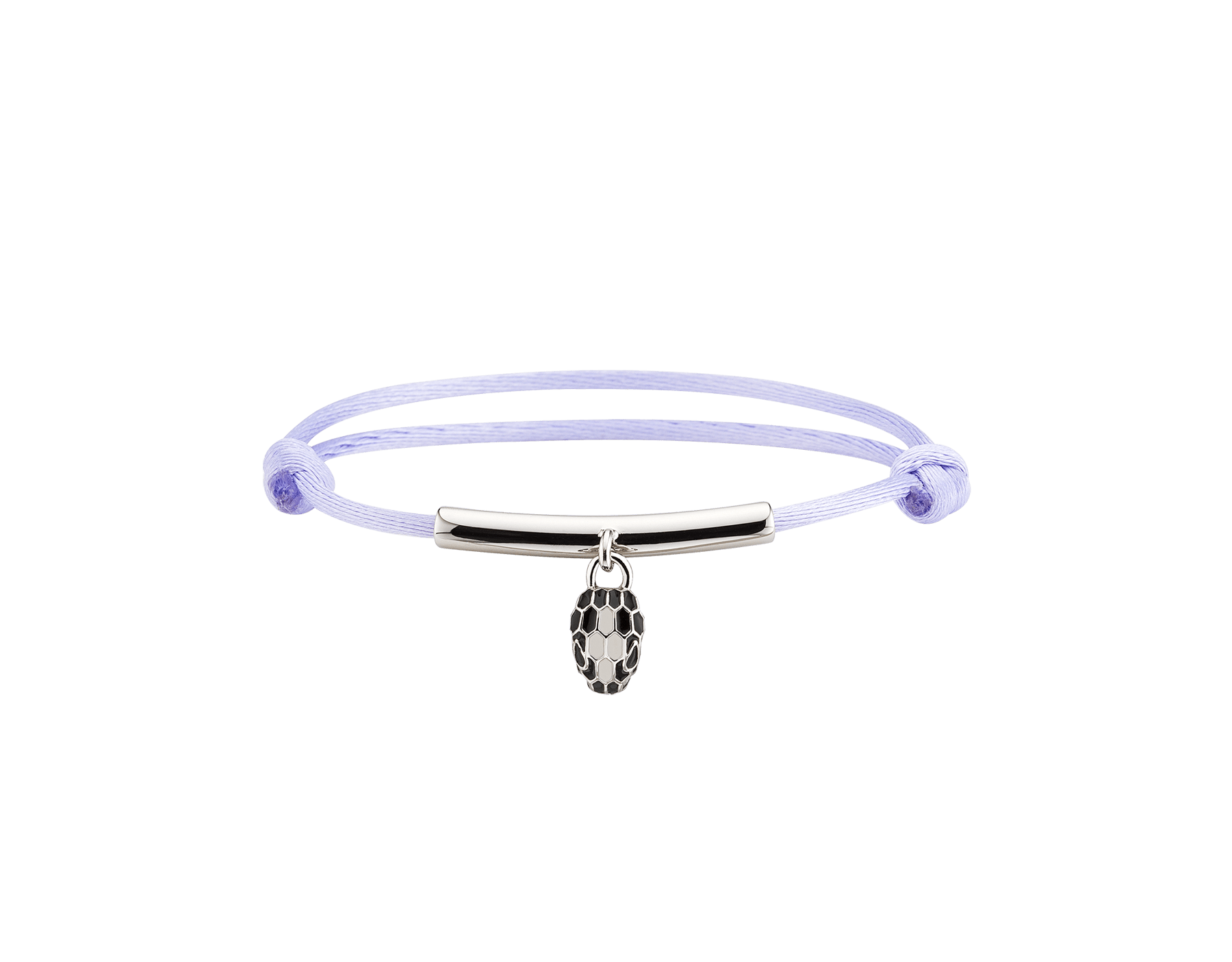 """""""Serpenti Forever"""" bracelet in daisy topaz silk with a palladium plated brass plate and an iconic snakehead charm in black and white agate enamel and black enamel eyes. SERP-MINISTRINGb image 1"""