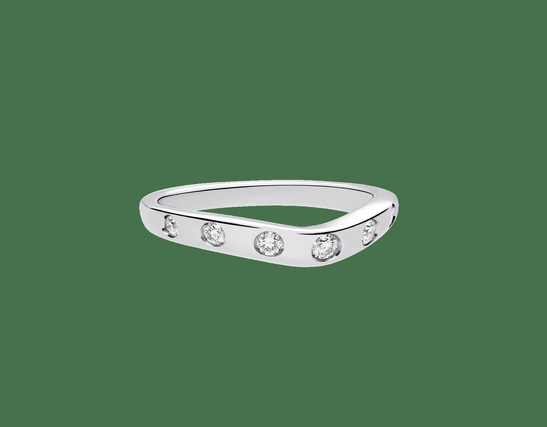 フェディ ウェディング・リング。ダイヤモンド7個を配したプラチナ製。 Corona-2 image 3