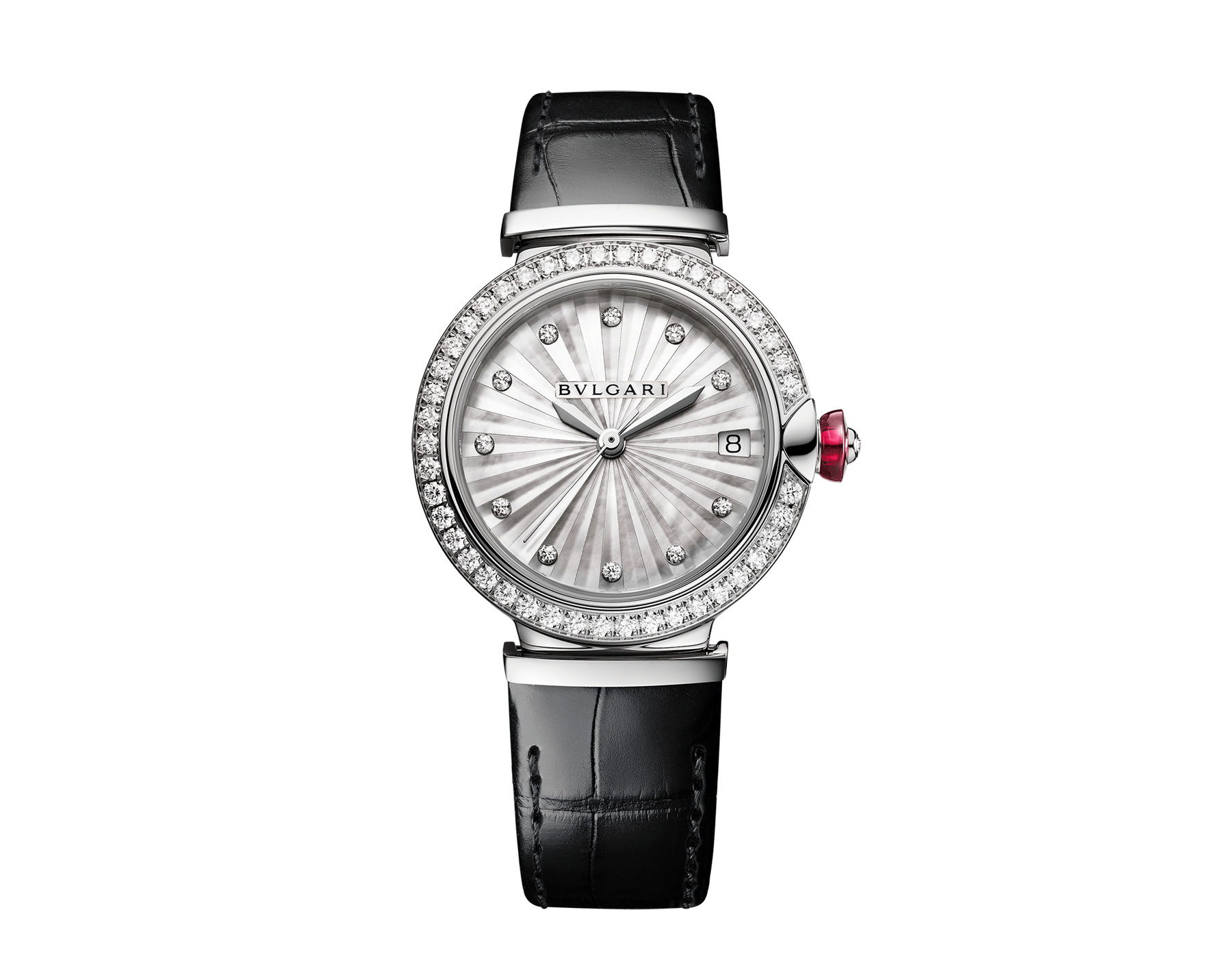 LVCEA watch with polished stainless steel case set with diamonds, white mother-of-pearl intarsia marquetry dial, 11 diamond indexes and black alligator bracelet 103476 image 1