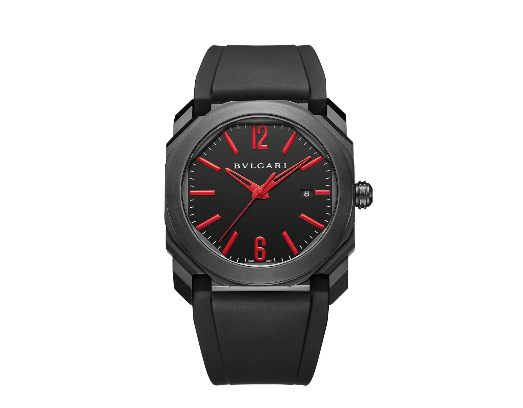 Octo watch with mechanical manufacture movement, automatic winding and date, stainless steel case treated with black Diamond Like Carbon, black lacquered dial and black rubber bracelet. 102738 image 1