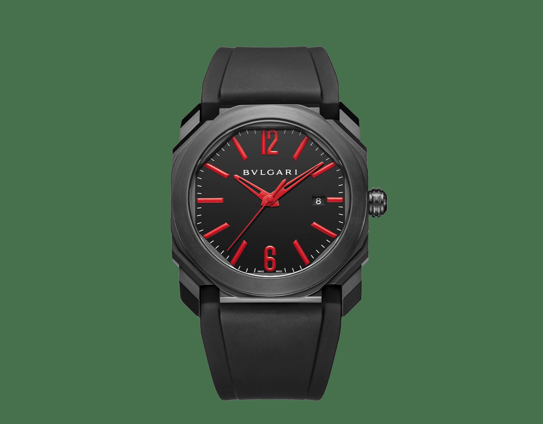 Relógio Octo com movimento de manufatura mecânico, corda automática e data, caixa em aço inoxidável com tratamento em carbono tipo diamante (DLC) preto, mostrador preto laqueado e pulseira em borracha preta. 102738 image 1