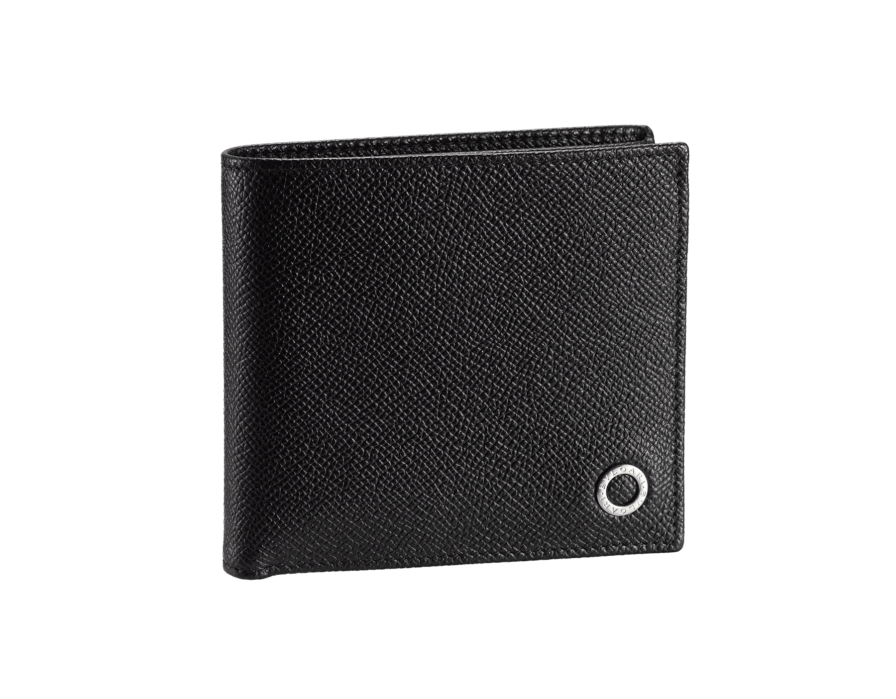 """BVLGARI BVLGARI"" compact wallet in Pluto Stone grey grained calf leather and Denim Sapphire blue grained calf leather. Iconic logo-bearing embellishment in palladium-plated brass. BBM-WLT-ITAL-gcl image 1"