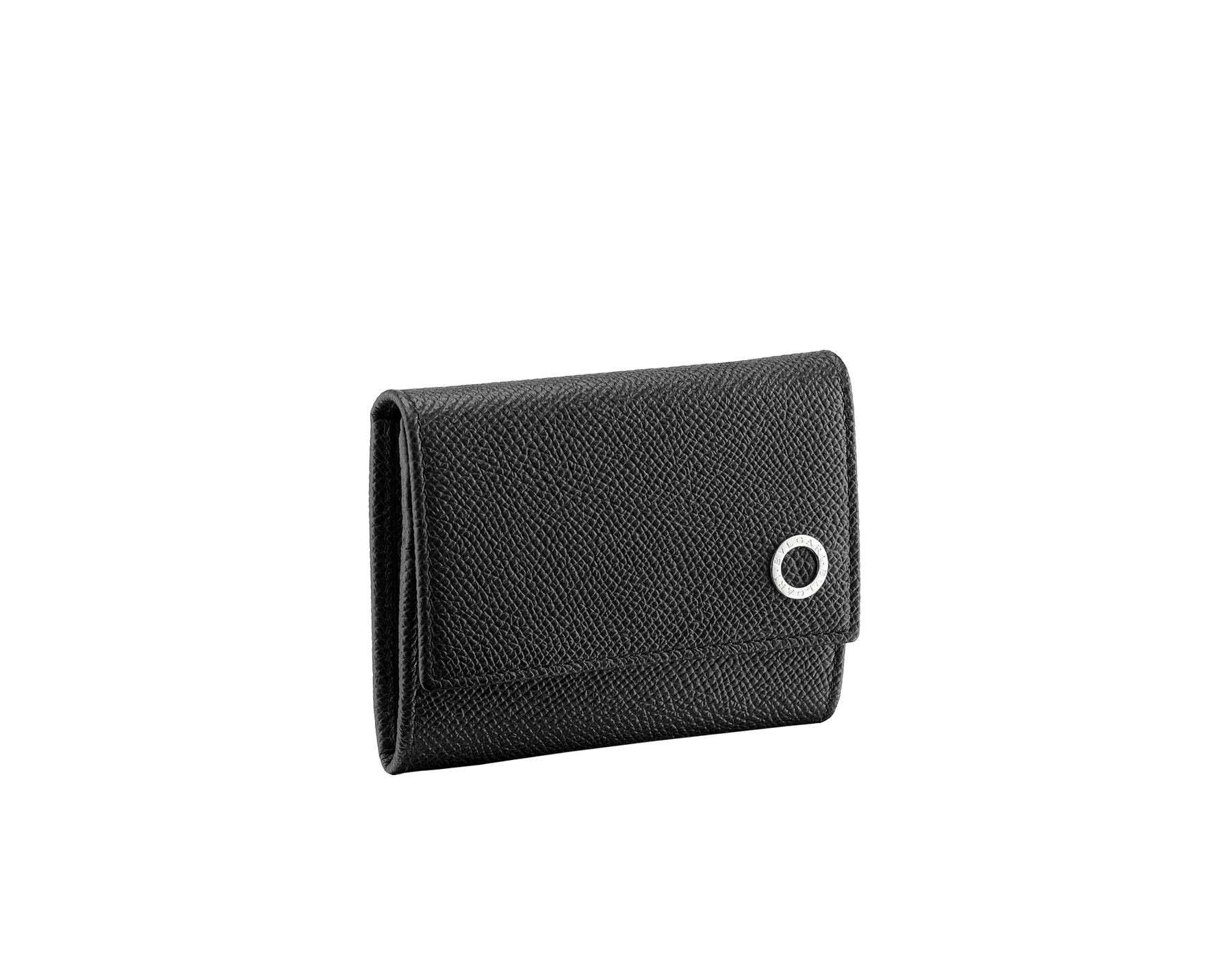 BVLGARI BVLGARI coins and credit card holder in black and ruby red grain calf leather and black nappa lining. Iconic logo décor in palladium plated brass. 288293 image 1