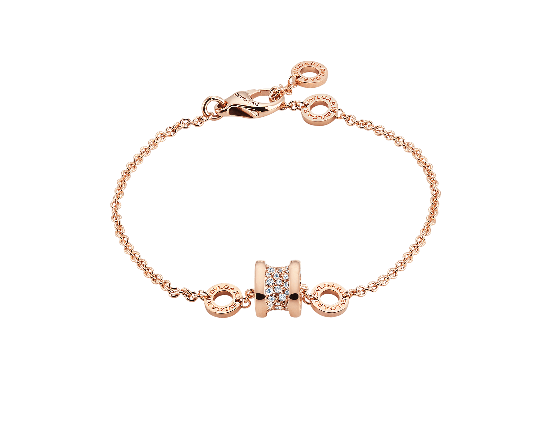 B.zero1 soft bracelet in 18 kt rose gold, set with pavé diamonds on the spiral. BR857358 image 1