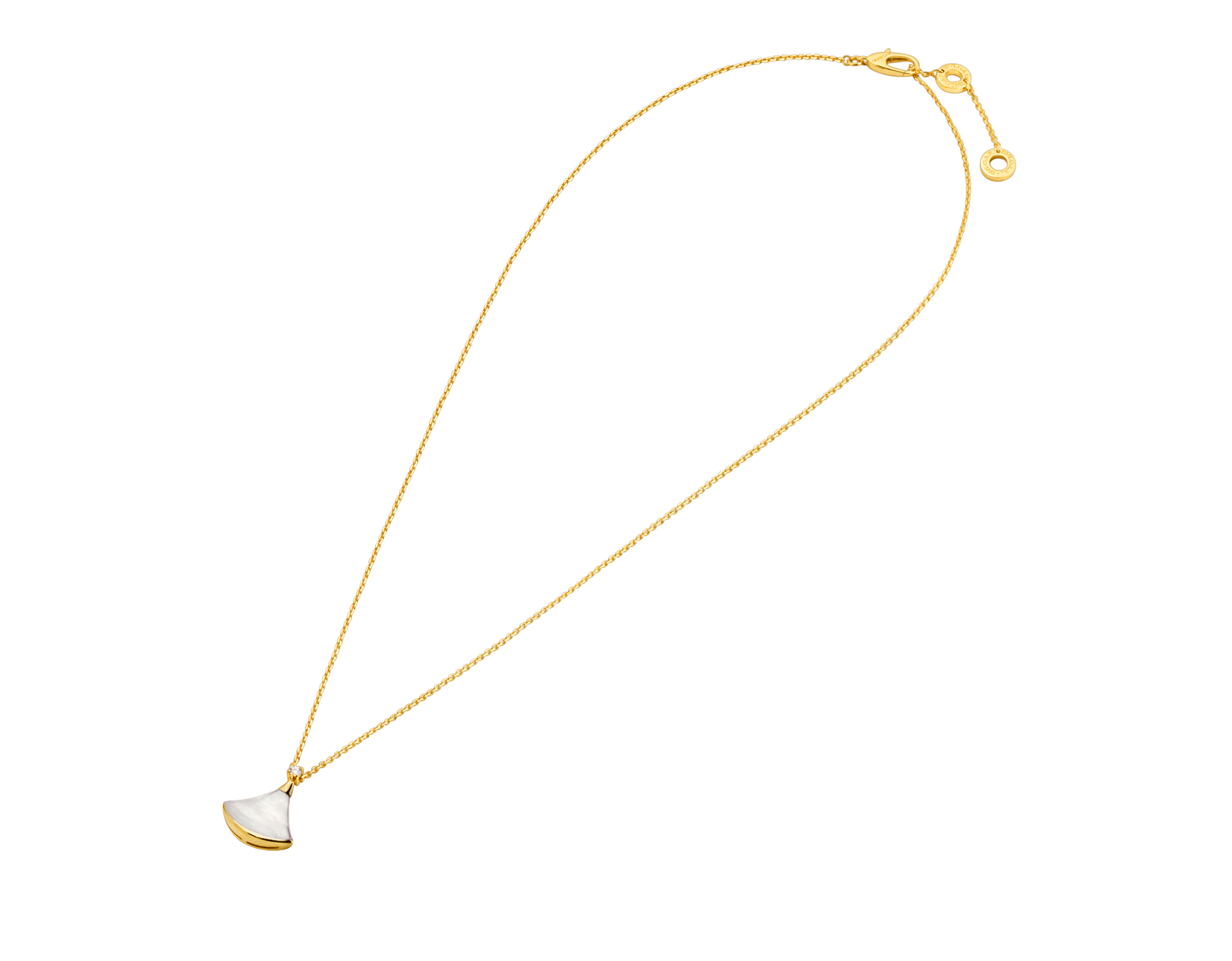 DIVAS' DREAM 18 kt yellow gold necklace with pendant set with one diamond and mother-of-pearl element 357510 image 2