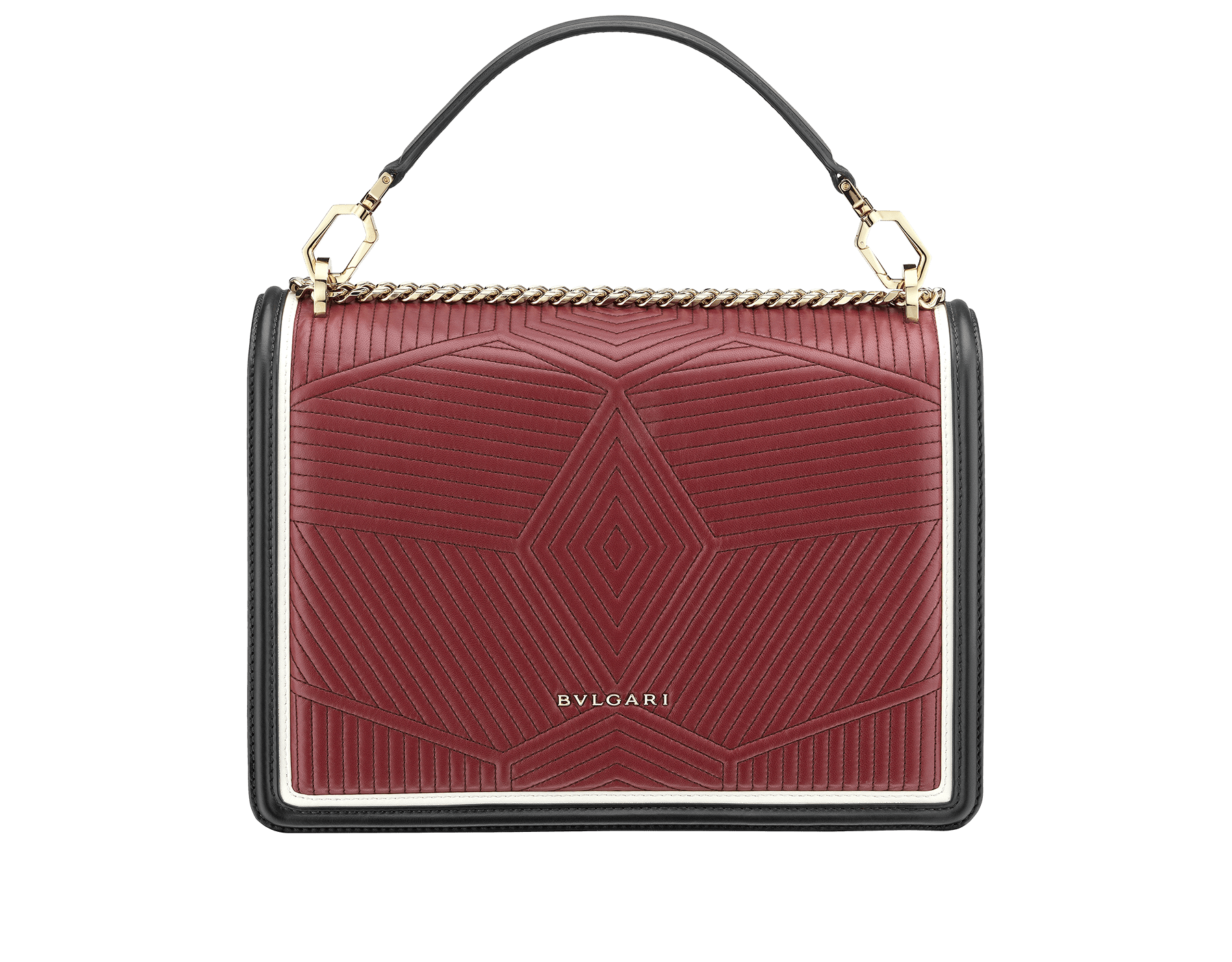 Top handle bag Serpenti Forever featuring a Framed Quilted motif in white agate nappa and black smooth calf leather. Brass light gold plated tempting snake head closure in black and roman garnet enamel, with eyes in black onyx. 973-FQDd image 3