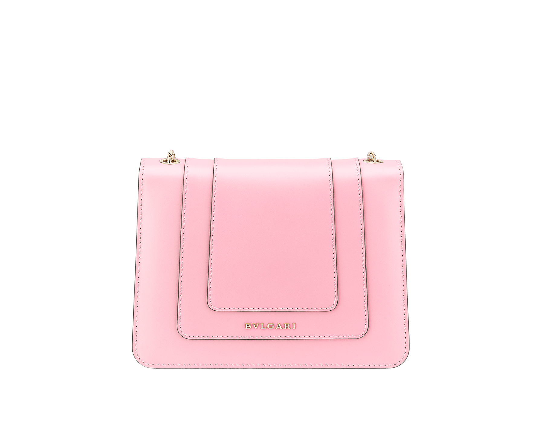 Serpenti Forever crossbody bag in sea star coral smooth calf leather. Snakehead closure in light gold plated brass decorated with black and white enamel, and green malachite eyes. 422-CLb image 3