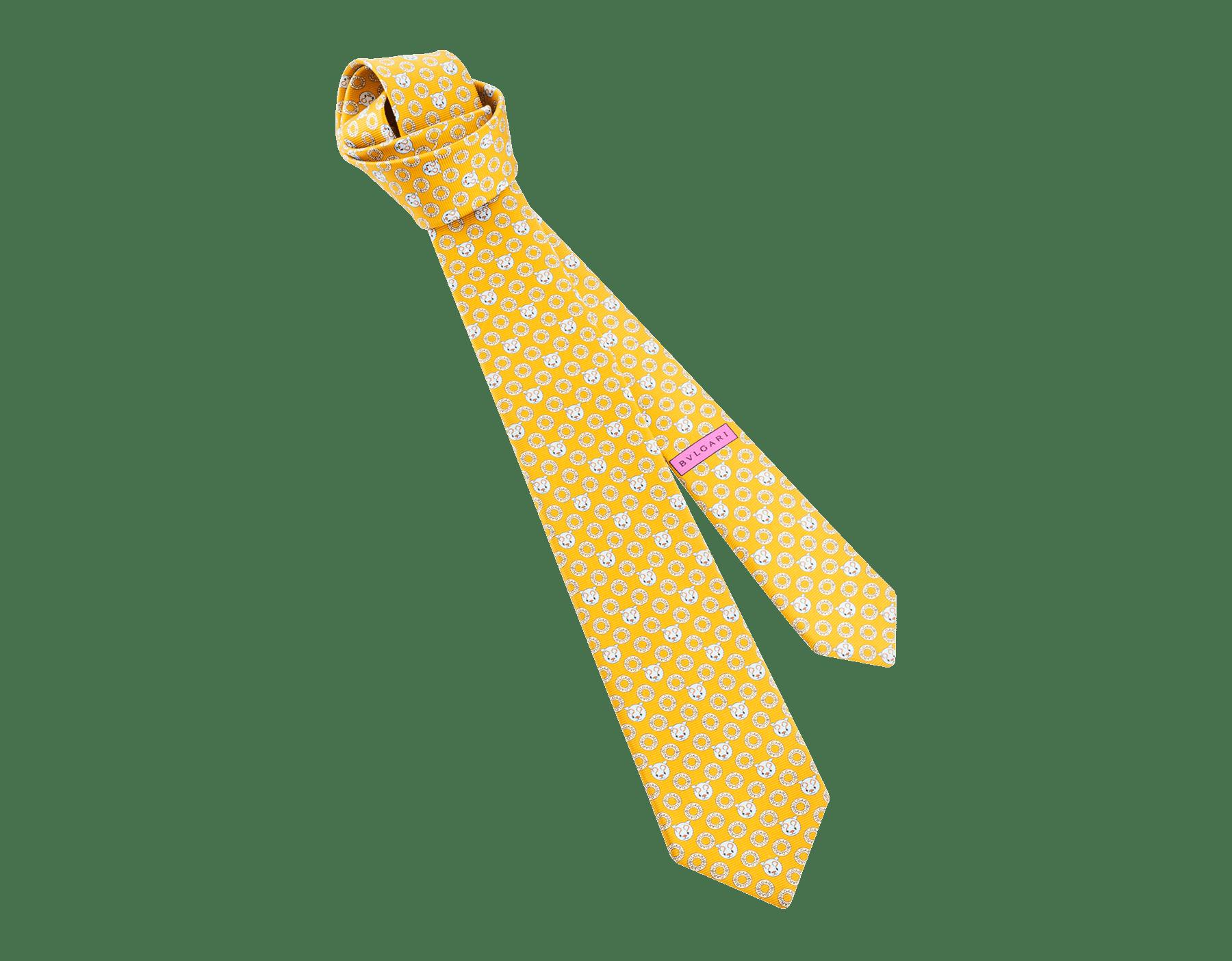 マンダリンのロゴ エモティキャット セブンフォールドネクタイ。上質なサリオーネプリントシルク製。 244329 image 1