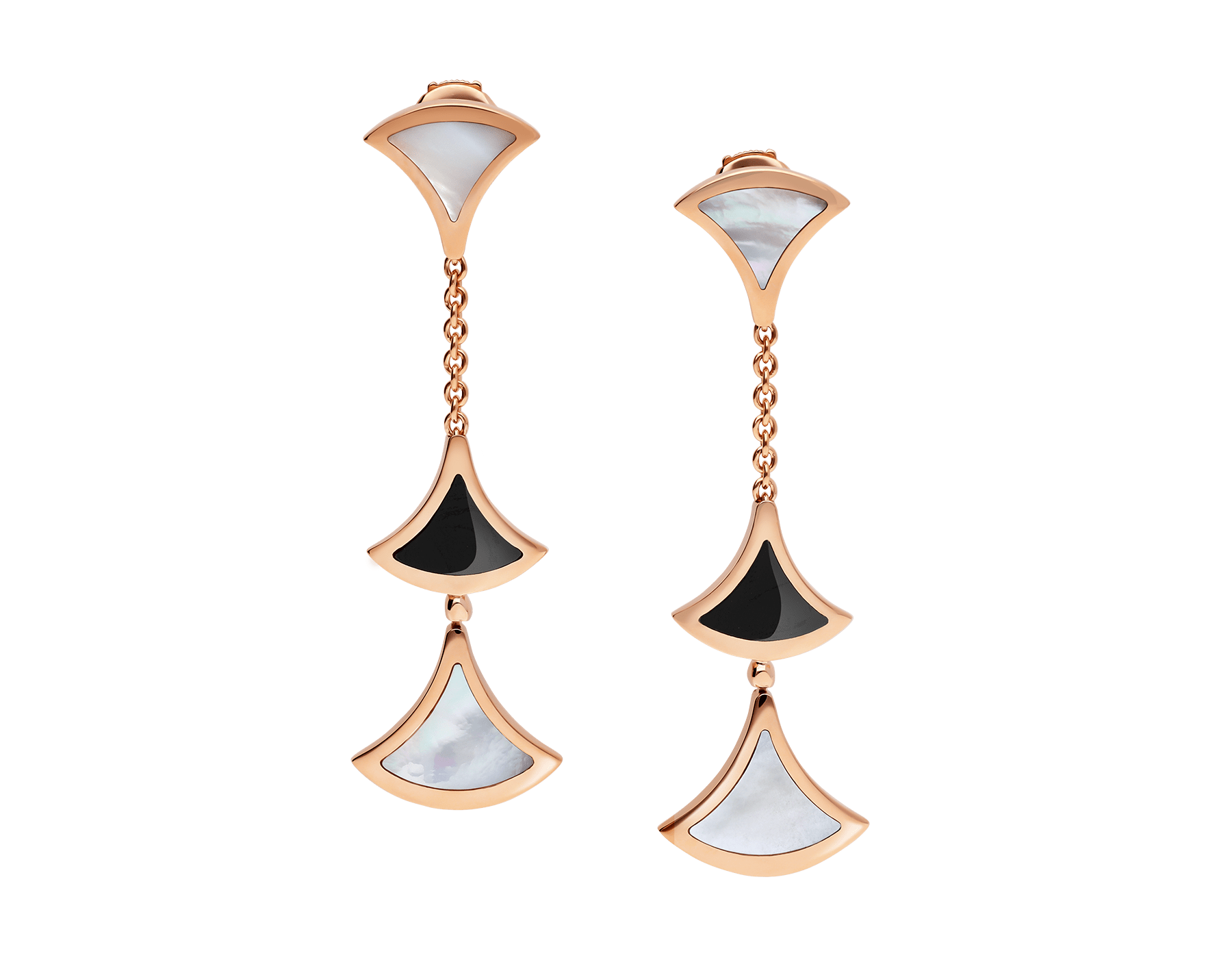DIVAS' DREAM earrings in 18 kt rose gold set with onyx and mother-of-pearl elements. 350260 image 1