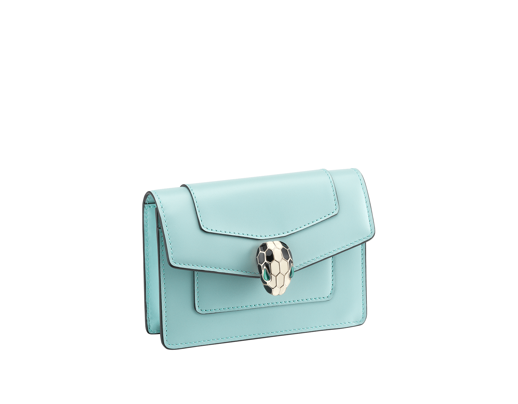 Serpenti Forever pocket credit card holder crafted in glacier turquoise and rhapsody opal calf leather, with glacier turquoise nappa lining. Iconic brass light gold plated snakehead stud closure in black and white enamel, with eyes in green malachite. 287174 image 1