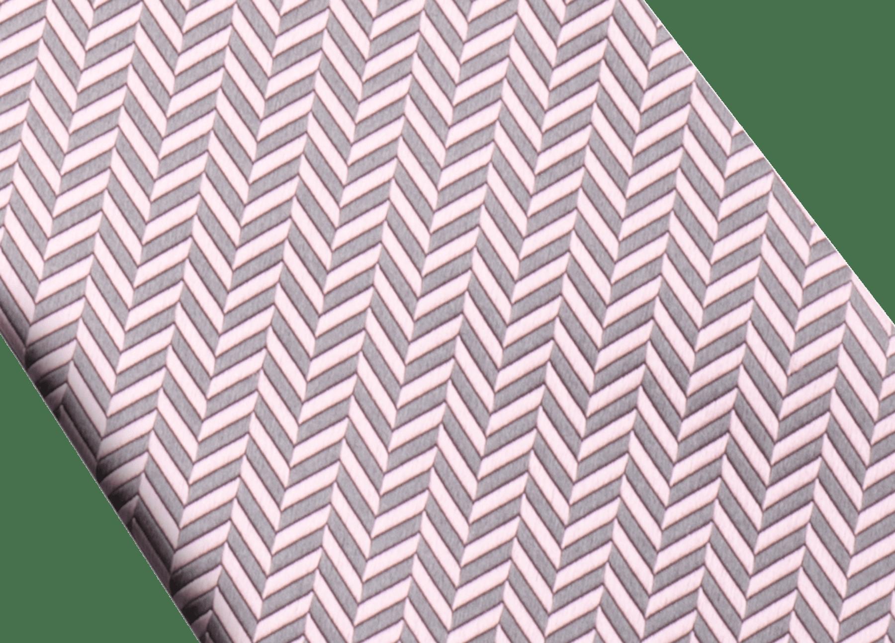 グレーのシェバ―ハート セブンフォールドネクタイ。上質なジャカードシルク製。 244419 image 2