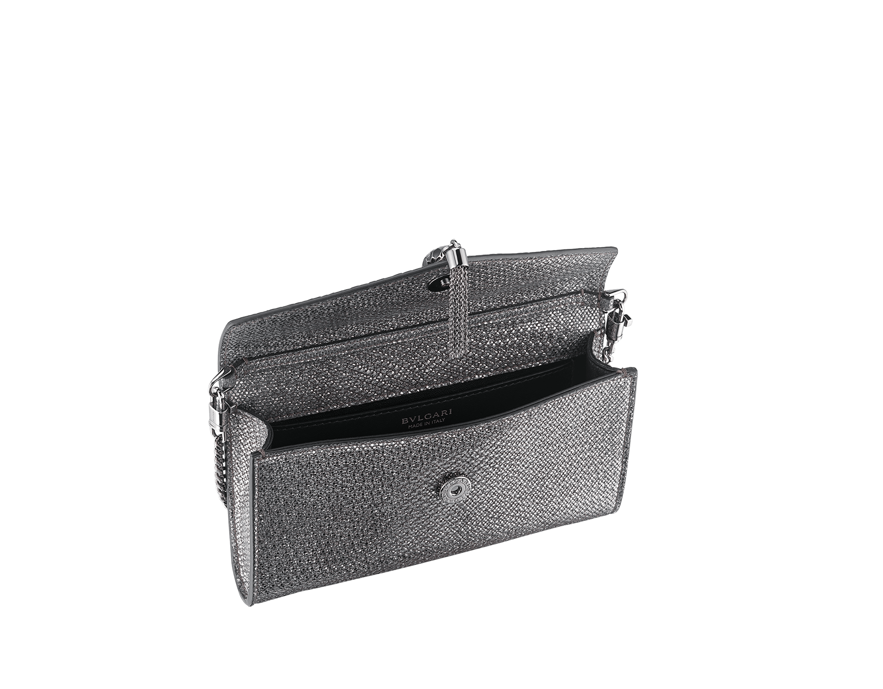 """Serpenti Forever"" small pochette in white agate metallic karung skin and black nappa leather. Iconic snakehead stud closure with tassel in palladium plated brass, enamelled in matte and shiny black and finished with black enamel eyes. SMALLPOCHETTE-KARUNG image 2"