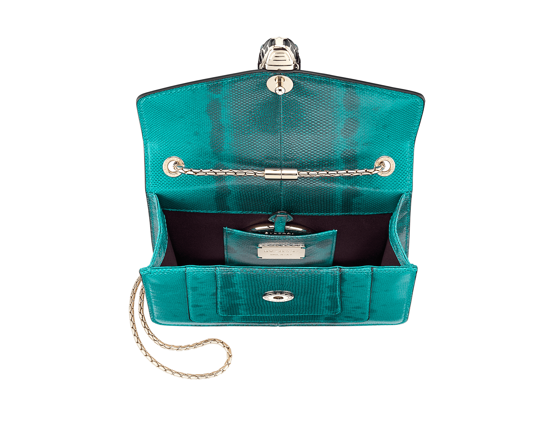Serpenti Forever crossbody bag in tropical turquoise shiny karung skin. Snakehead closure in light gold plated brass decorated with black and white enamel, and green malachite eyes. 287912 image 4