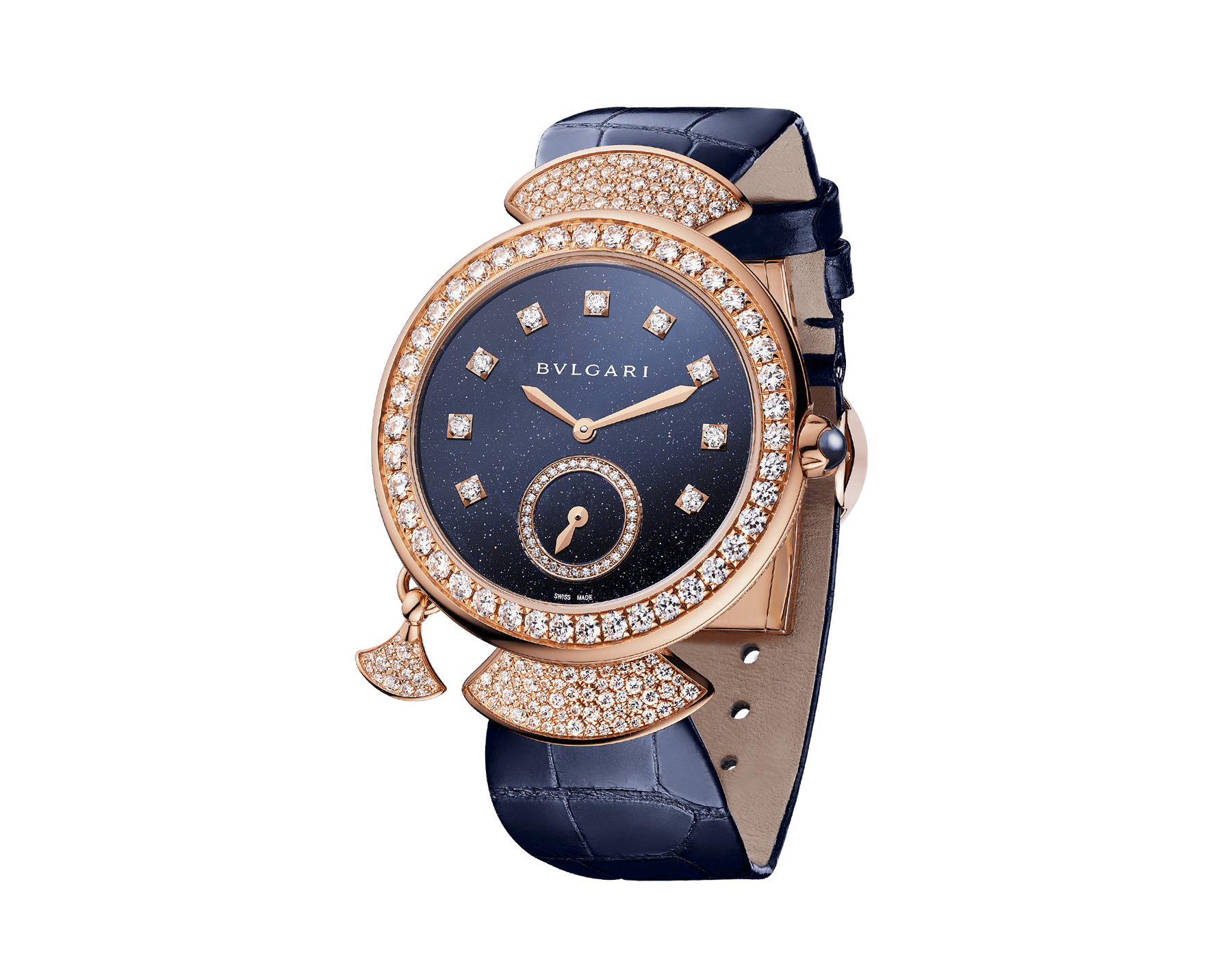 DIVAS' DREAM watch with extra-thin mechanical manufacture movement with minute repeater, two hammers, manual winding, 18 kt rose gold case and links fully set with snow-pavé diamonds, aventurine dial, diamond indexes, off-centred small seconds counter set with diamonds, transparent case back and blue alligator bracelet. Limited edition of ten pieces 103233 image 1