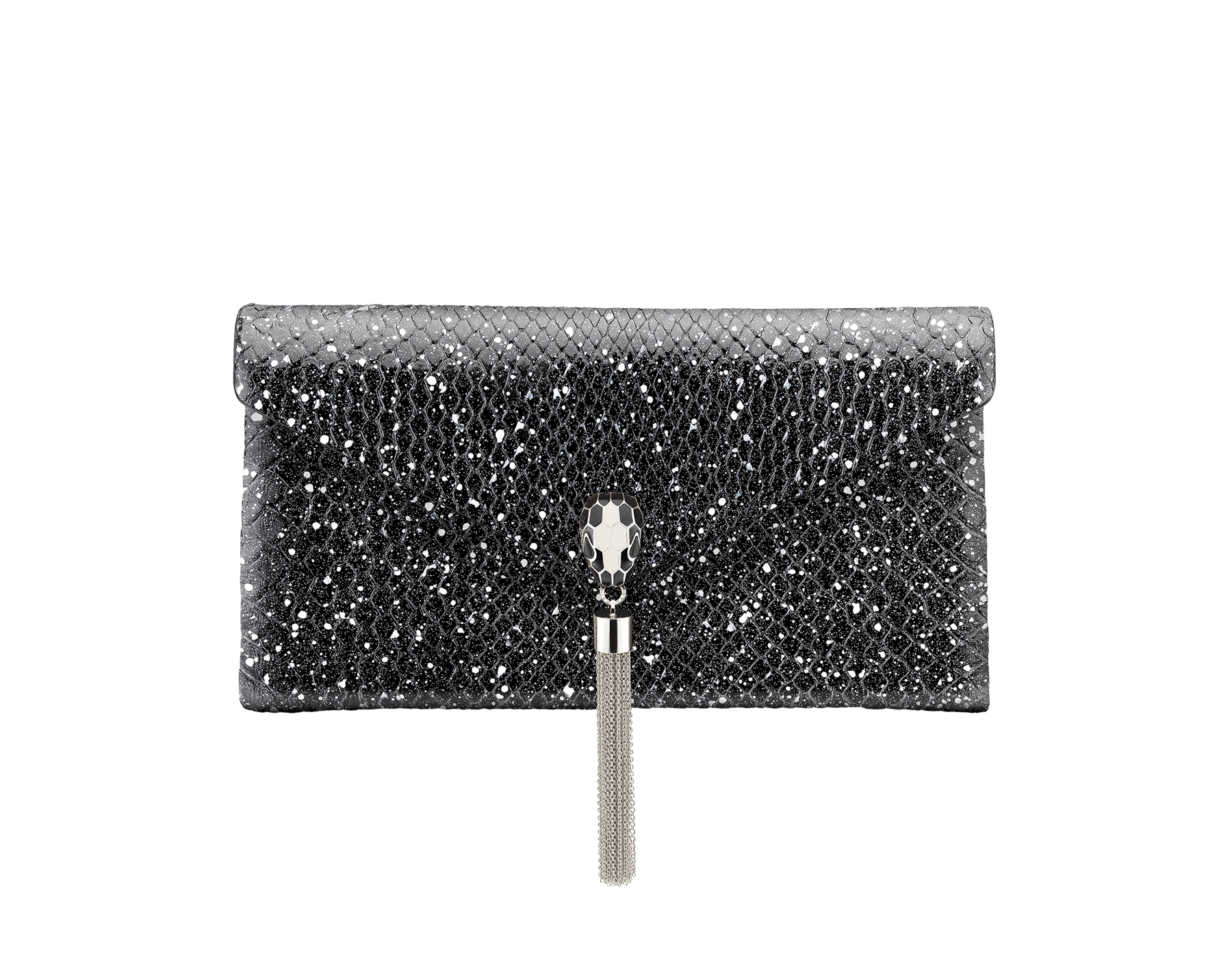 Serpenti evening clutch in black and white Cosmic python skin. Snakehead stud closure with tassel in palladium plated brass decorated with black and white enamel, and black onyx eyes. 288528 image 1