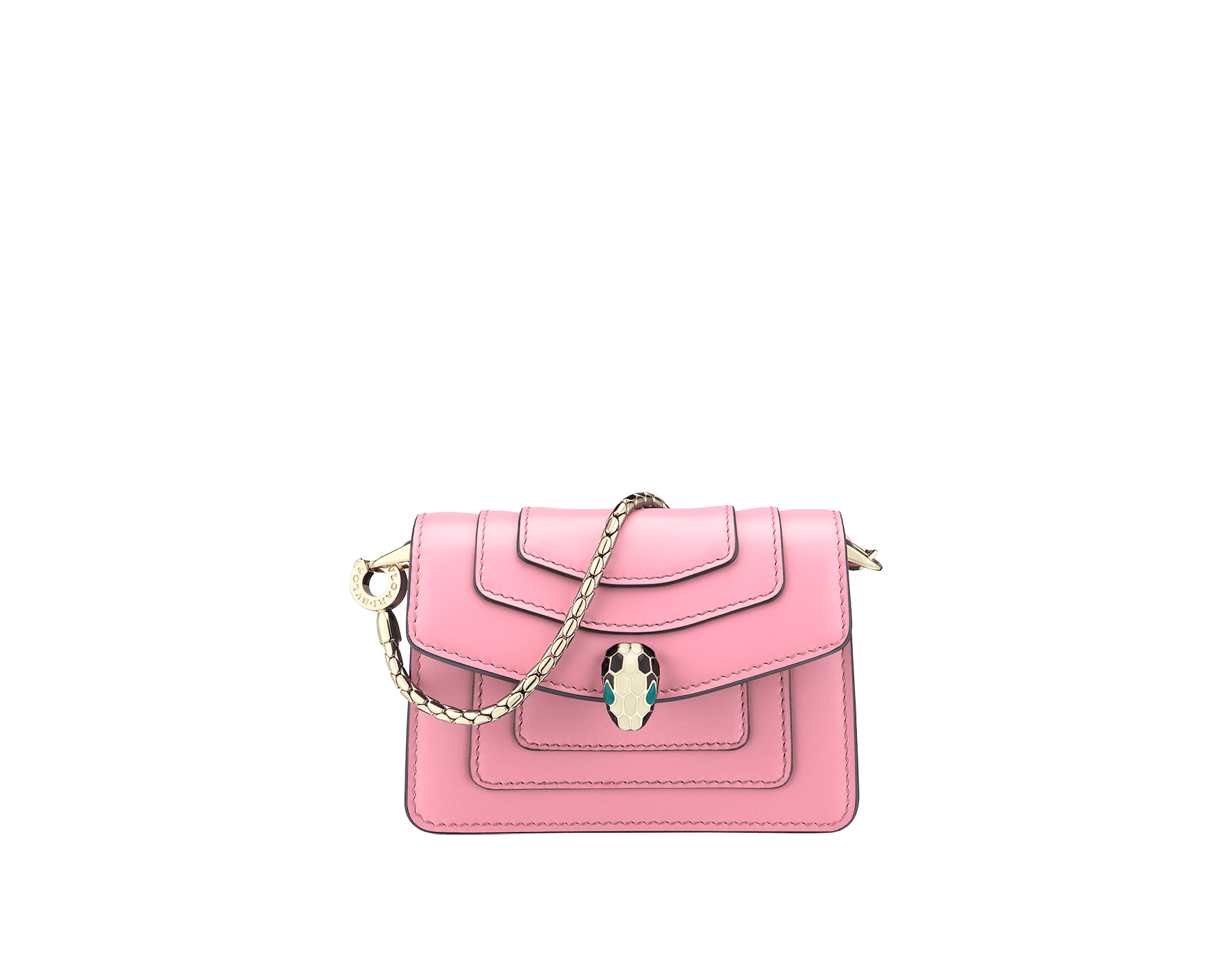 Bag charm Serpenti Forever miniature in flamingo quartz calf leather, with bordeaux calf leather lining. Iconic brass light gold plated snakehead stud closure enameled in black and white and finished with green enamel eyes. 288369 image 1