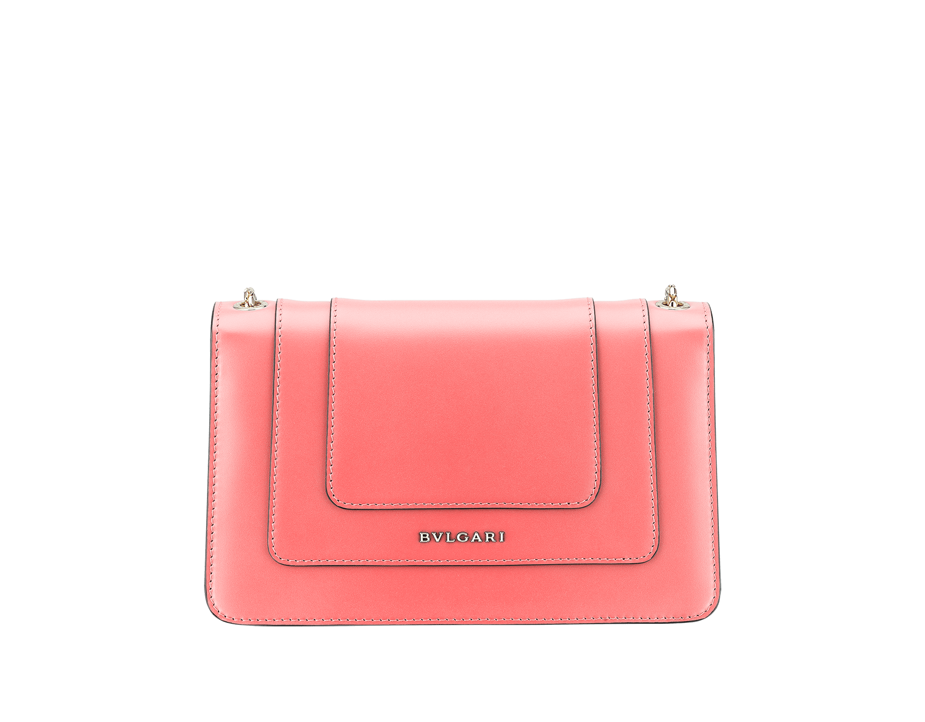 """Serpenti Forever"" crossbody bag in silky coral calf leather. Iconic snake head closure in light gold plated brass enriched with black and white enamel and green malachite eyes. 288708 image 3"