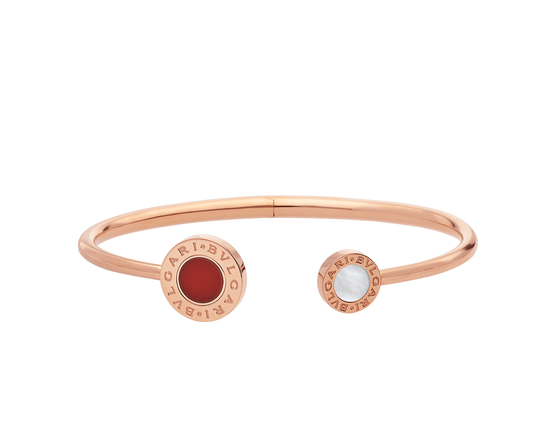 BVLGARI BVLGARI 18 kt rose gold flip bracelet set with mother-of-pearl and carnelian elements BR858280 image 2