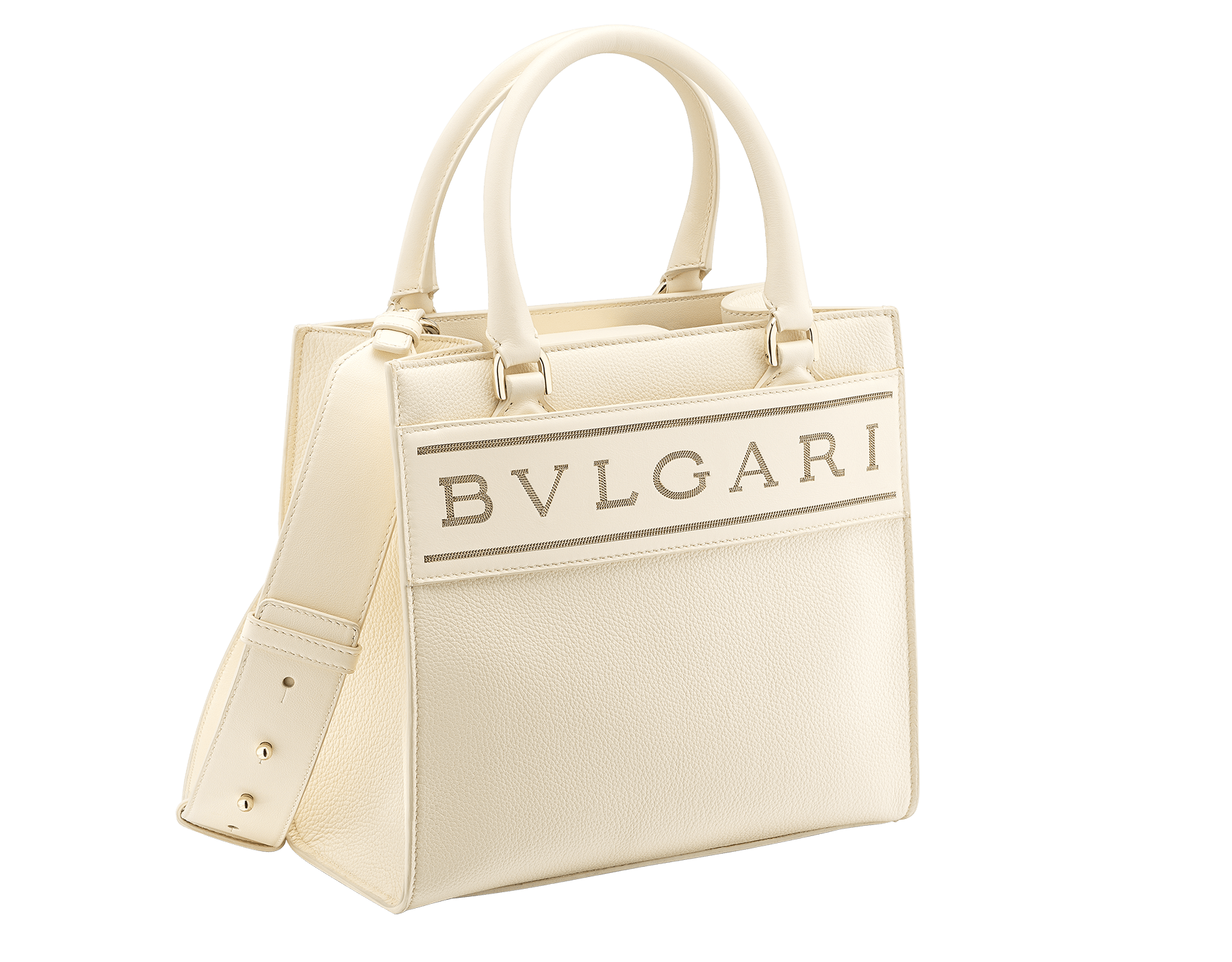 """Bvlgari Logo"" small tote bag in Ivory Opal white calf leather, with Beet Amethyst purple grosgrain inner lining. Bvlgari logo featuring light gold-plated brass chain inserts on the Ivory Opal white calf leather. BVL-1159-CL image 2"