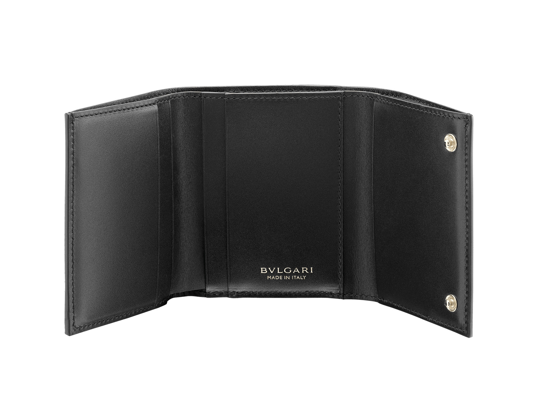 B.zero1 compact wallet in black goatskin tone on tone. Iconic B.zero1 zip puller in light gold plated brass and two press closures. 289145 image 2