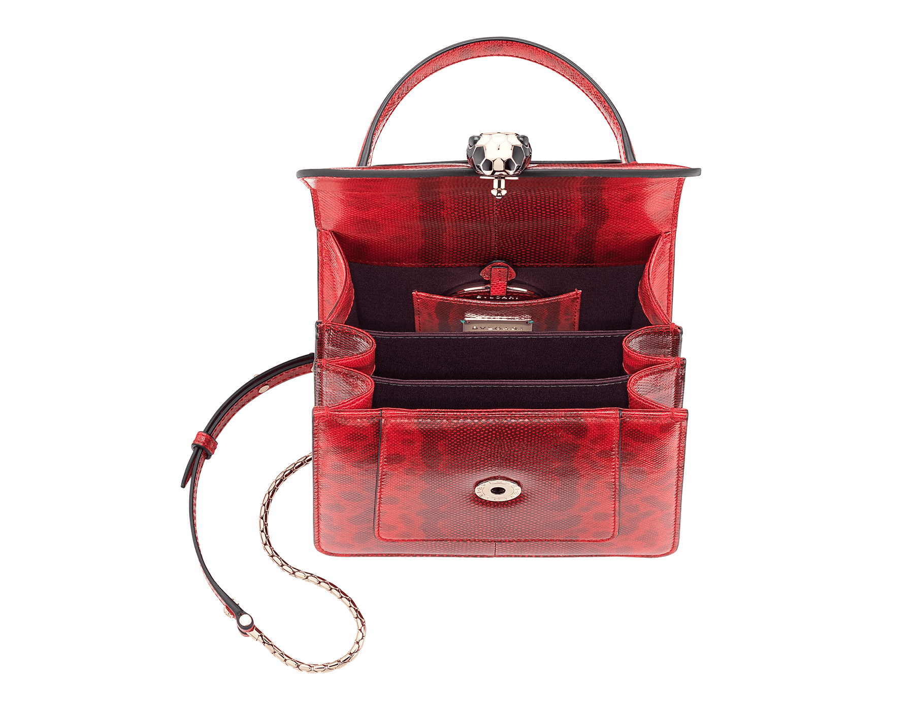 Serpenti Forever crossbody bag in sea star coral shiny karung skin. Snakehead closure in light gold plated brass decorated with black and white enamel, and green malachite eyes. 287915 image 4