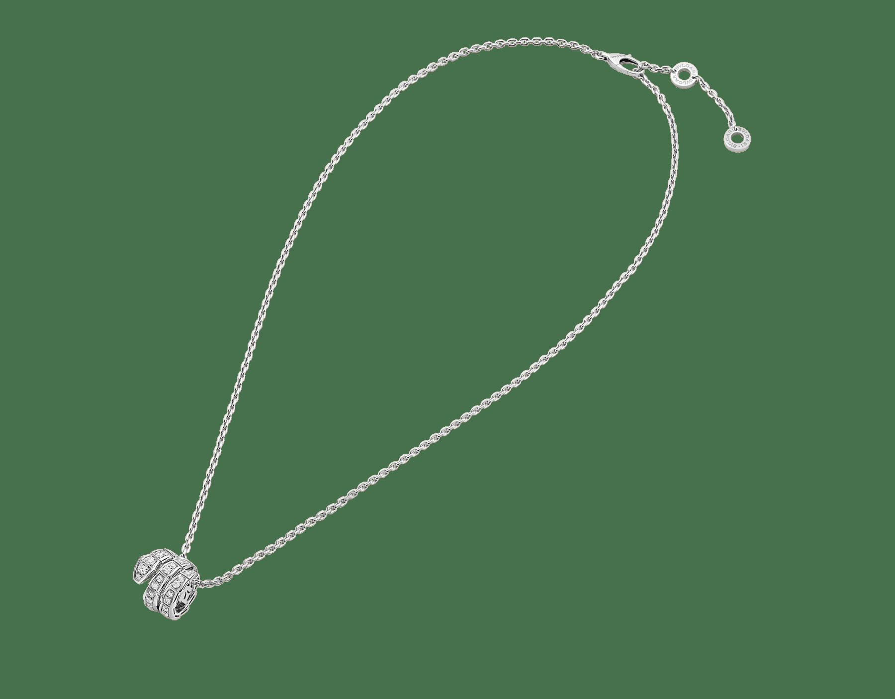 Collana con pendente Serpenti Viper in oro bianco 18 kt con pavé di diamanti. 357796 image 3