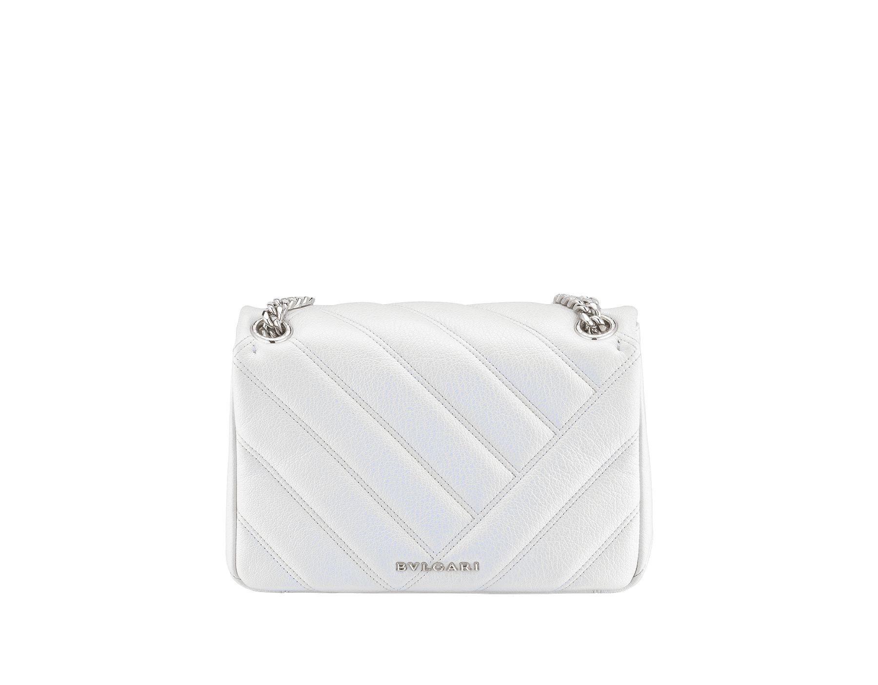 """Serpenti Cabochon"" shoulder bag in soft quilted white agate goatskin with a pearled, iridescent effect and a graphic motif. Brass palladium plated tempting snake head closure in matte black and shiny white enamel and black onyx eyes. 290236 image 3"