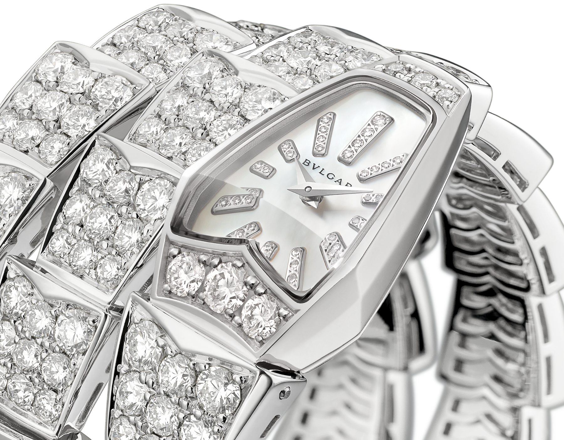 Serpenti Jewellery Watch in 18 kt white gold case and double spiral bracelet, both set with brilliant cut diamonds, white mother-of-pearl dial and diamond indexes. 101786 image 2