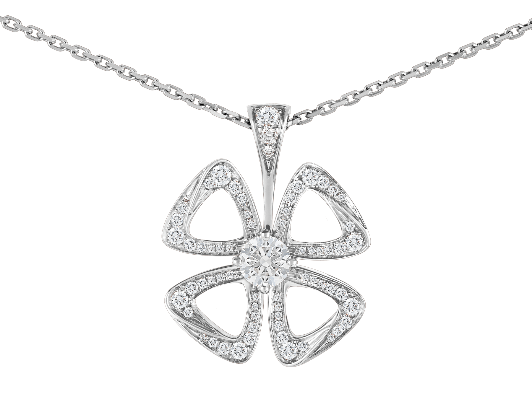 Fiorever 18 kt white gold necklace set with a central diamond and pavé diamonds. 354469 image 3
