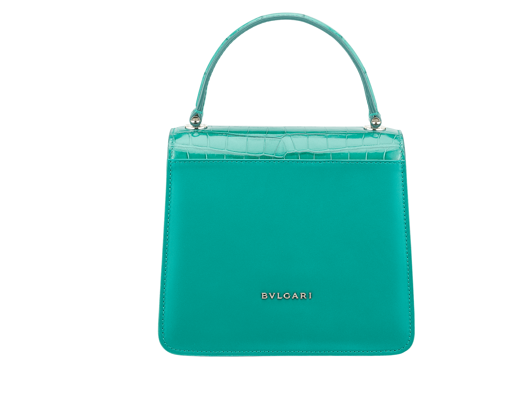 Serpenti Forever crossbody bag in tropical turquoise shiny croco skin and smooth calf leather. Snakehead closure in light gold plated brass decorated with black and white enamel, and green malachite eyes. 752-CLCR image 3