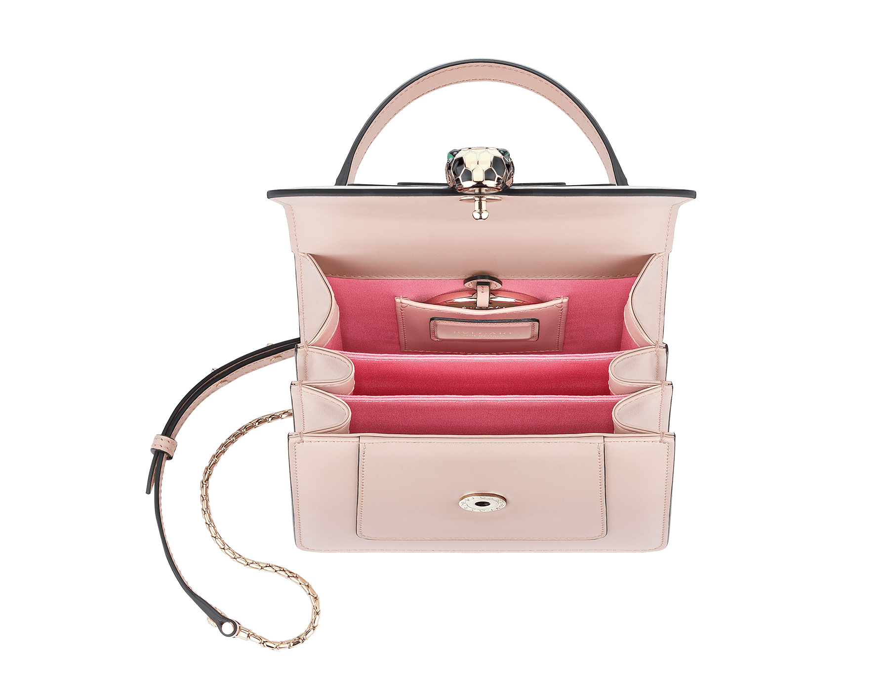 """Serpenti Forever"" crossbody bag in crystal rose calf leather. Iconic snakehead closure in light gold plated brass enriched with black and white enamel and green malachite eyes 287030 image 4"