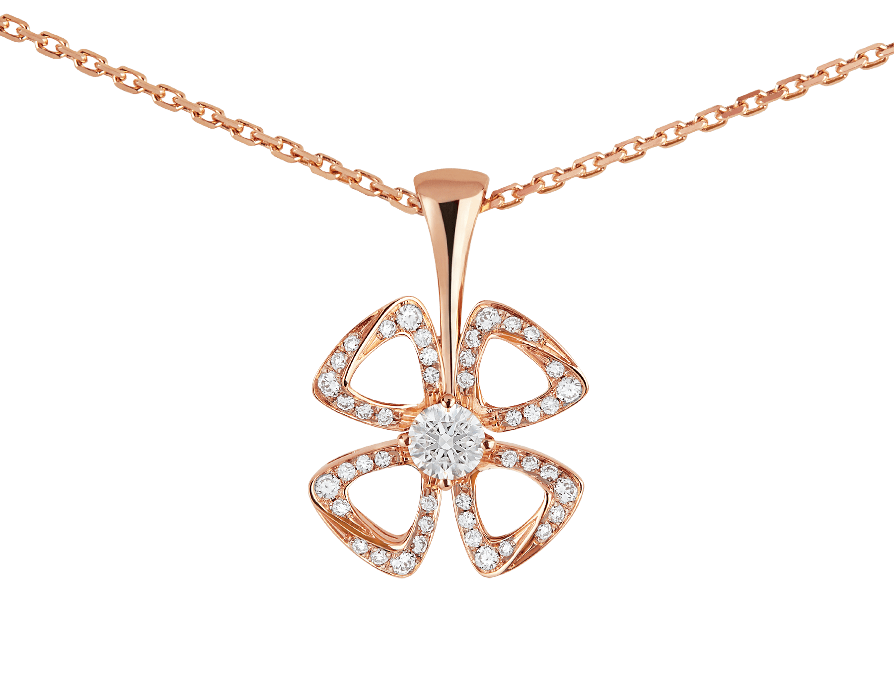 Fiorever 18 kt rose gold necklace set with a central brilliant-cut diamond (0.10 ct) and pavé diamonds (0.06 ct) 358156 image 3