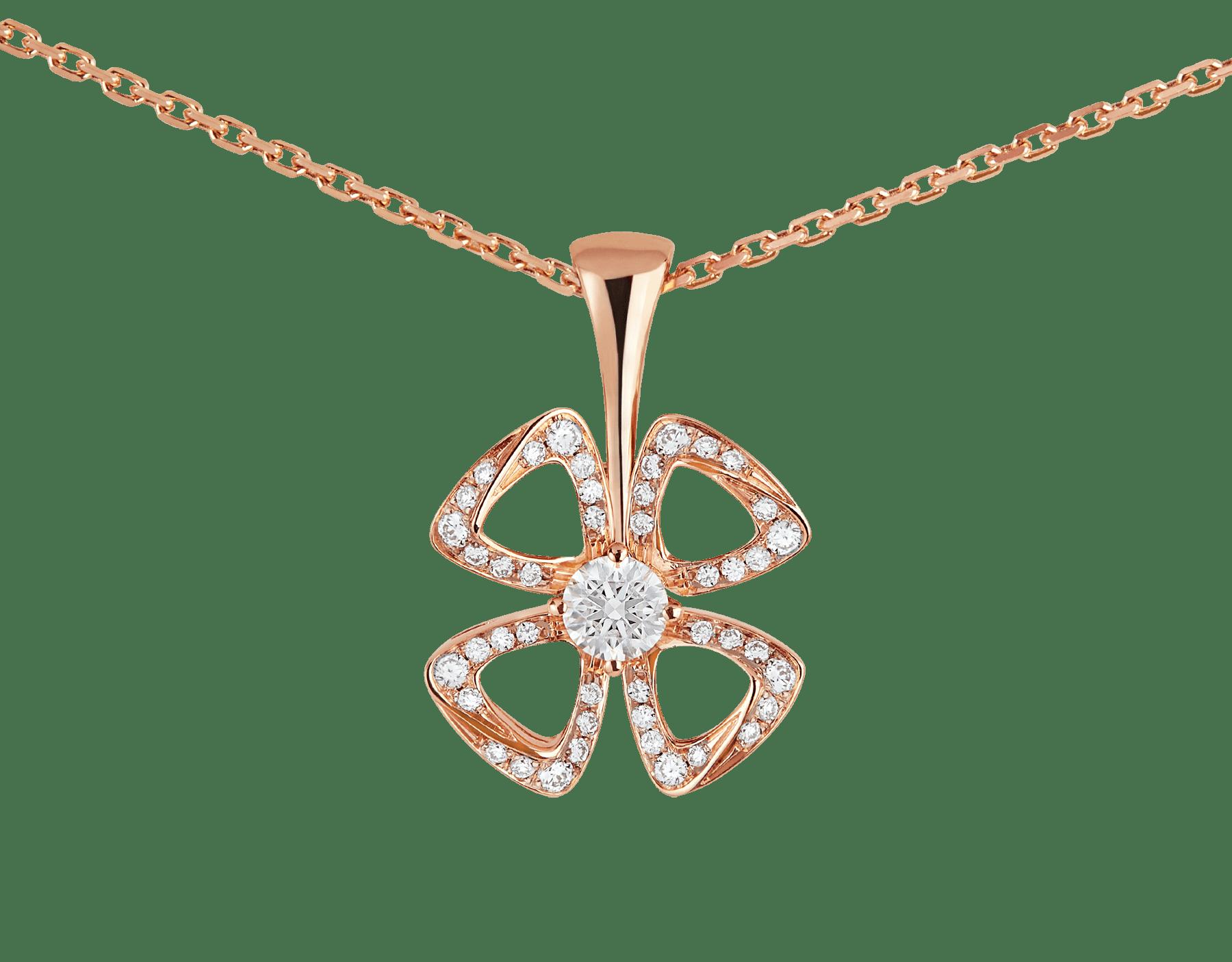 Collier Fiorever en or rose 18K serti d'un diamant taille brillant au centre (0,10ct) et pavé diamants (0,06ct) 358156 image 3
