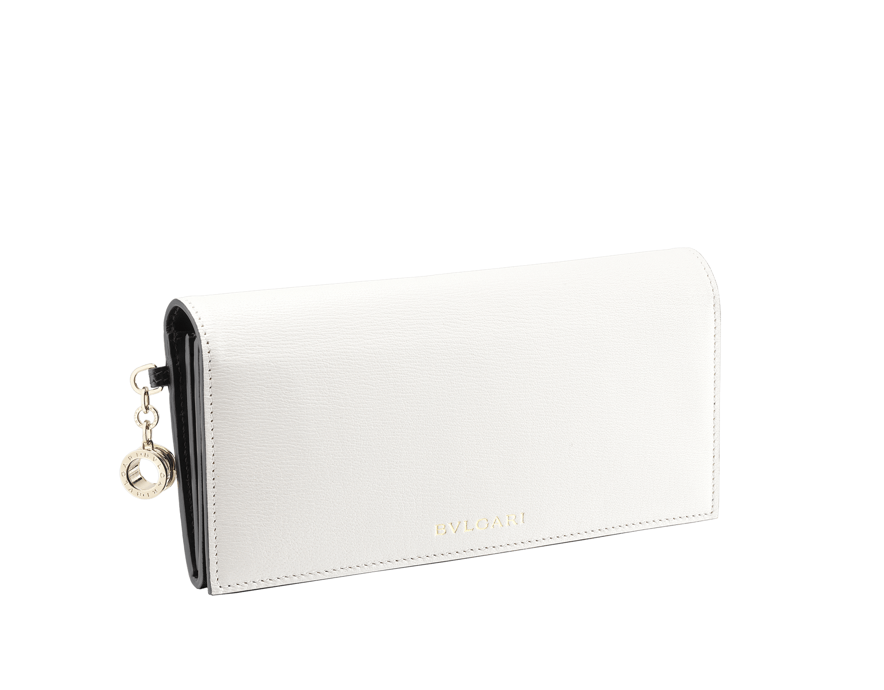B.zero1 wallet pochette in white and black goatskin. Iconic B.zero1 charm in light gold plated brass and closure clip. 288231 image 1