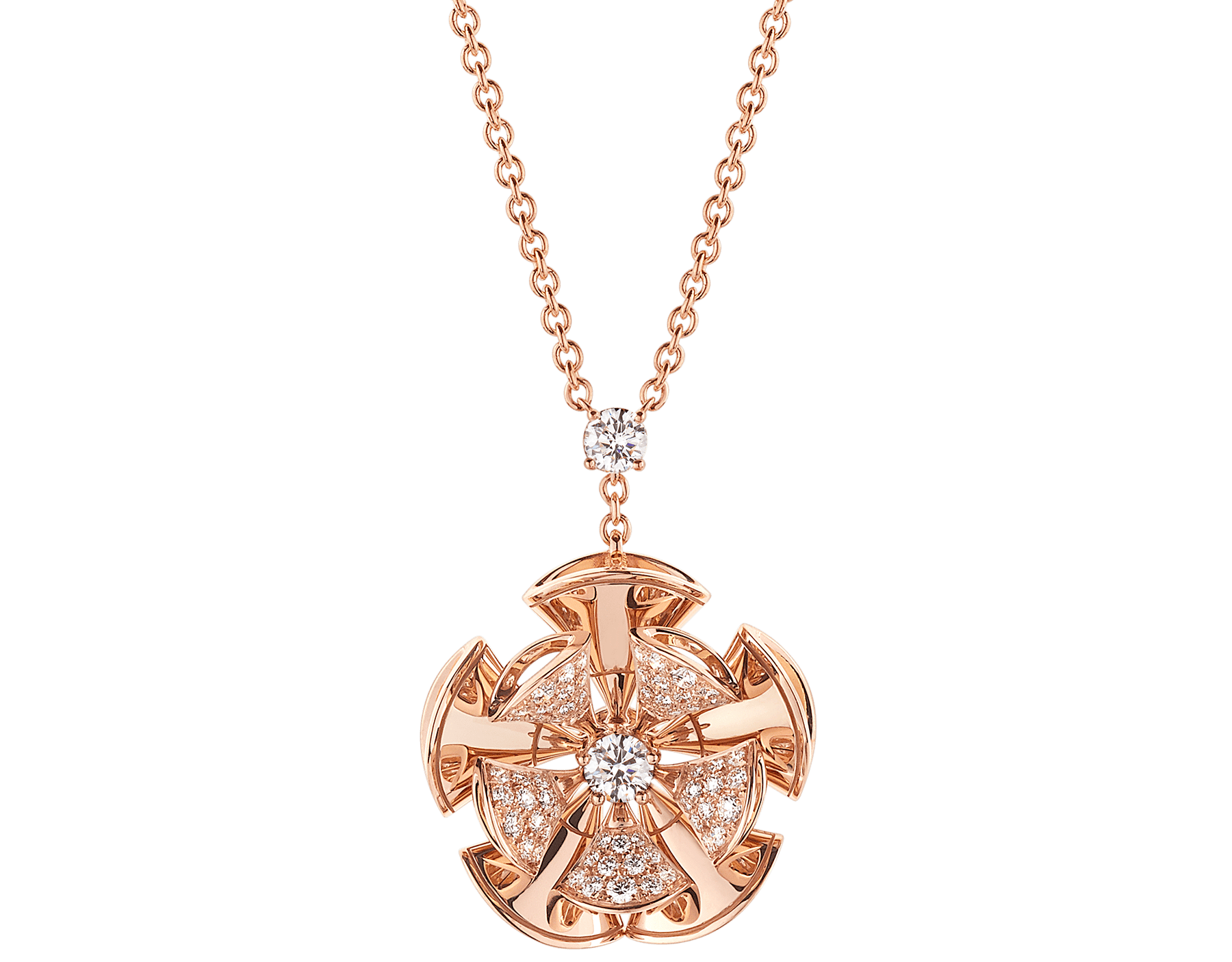 DIVAS' DREAM necklace in 18 kt rose gold with a diamond on the chain and 18 kt rose gold pendant set with central diamond and pavé diamonds. 350783 image 1