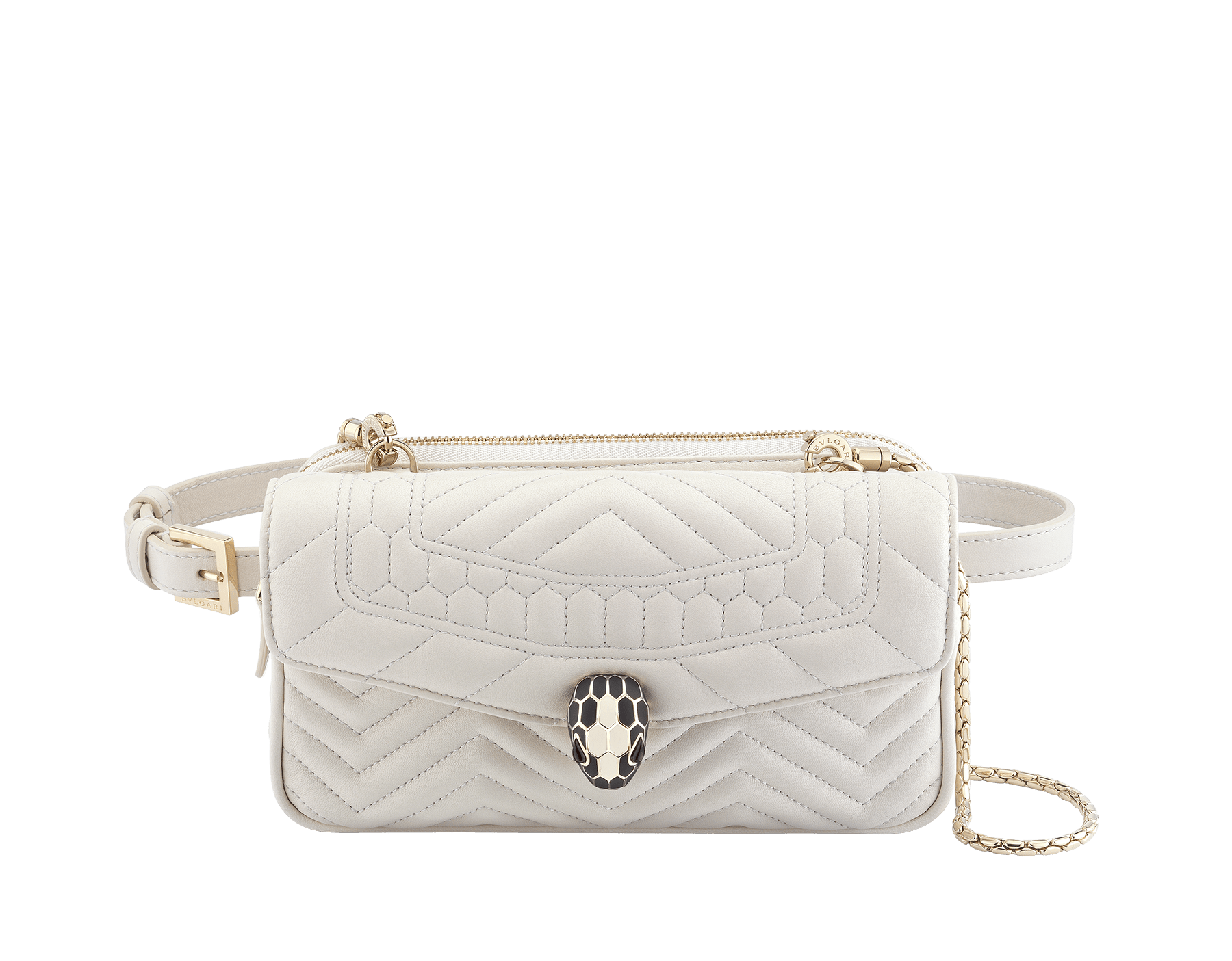 Belt Bag Serpenti Forever in white quilted chevron nappa leather. Hardware in light gold plated brass and snakehead closure in matte black and white agate enamel, with eyes in black onyx. 287568 image 1