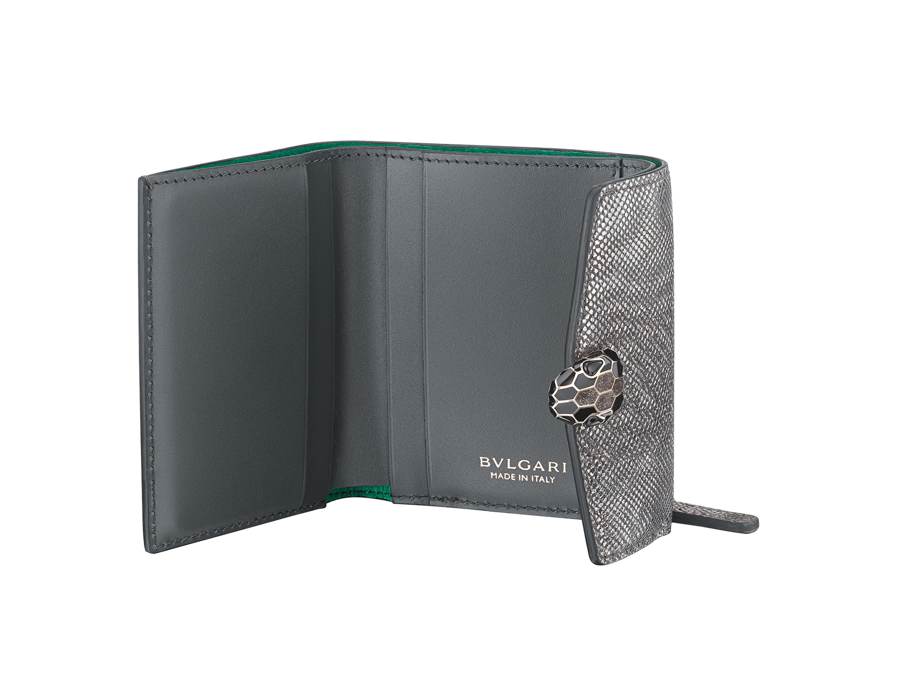 """Serpenti Forever"" slim compact wallet in mint metallic karung skin and black calf leather. Iconic light gold plated brass snakehead stud closure in black and white agate enamel, with black onyx eyes. SEA-SLIMCOMPACT-MK image 2"