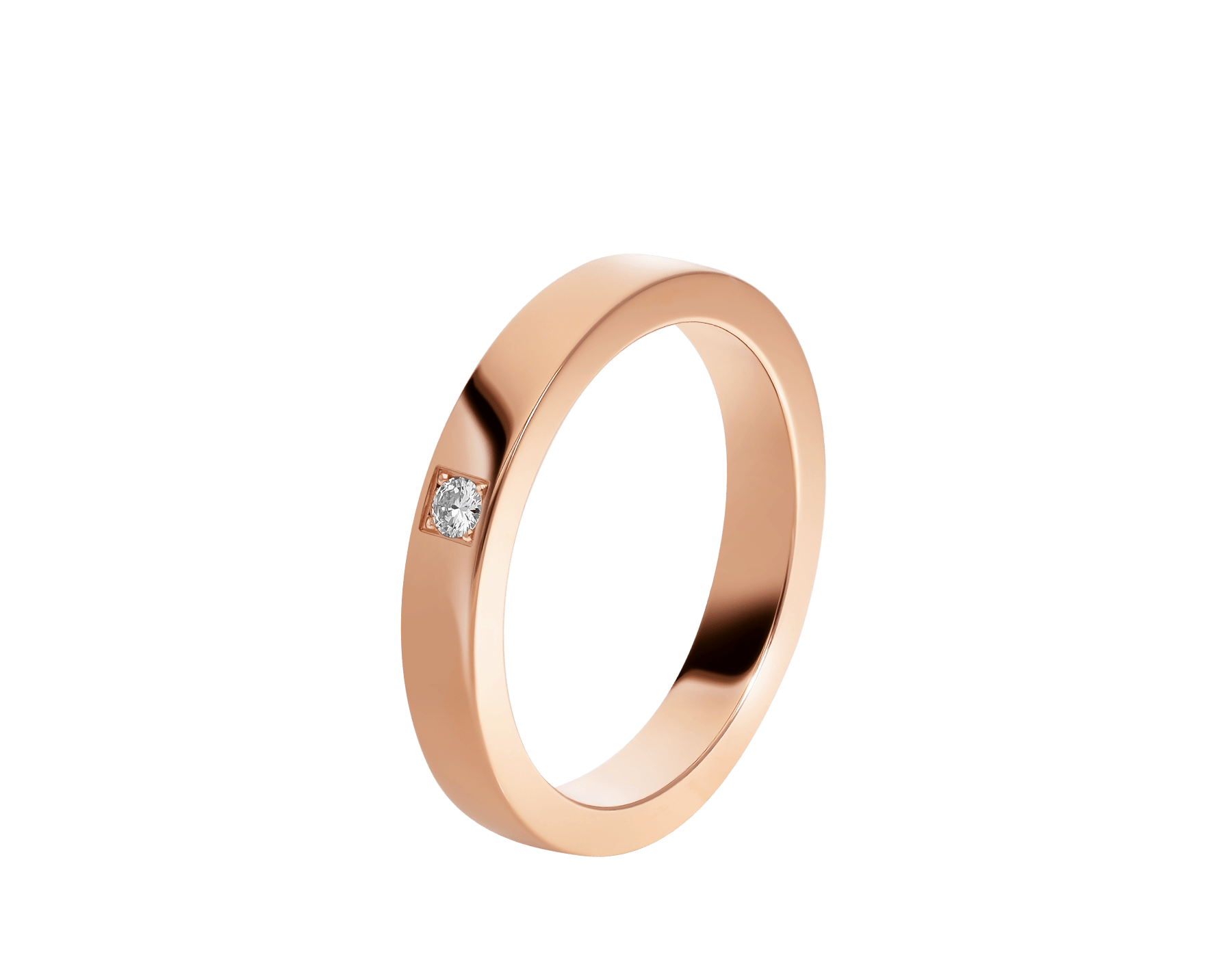 MarryMe 18 kt rose gold wedding band set with a diamond. AN858411 image 1