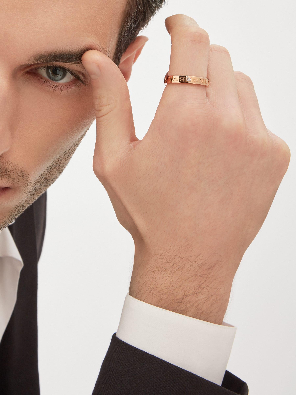 Кольцо BVLGARI BVLGARI в одну полосу, розовое золото 18 карат, бриллиант. AN854185 image 4