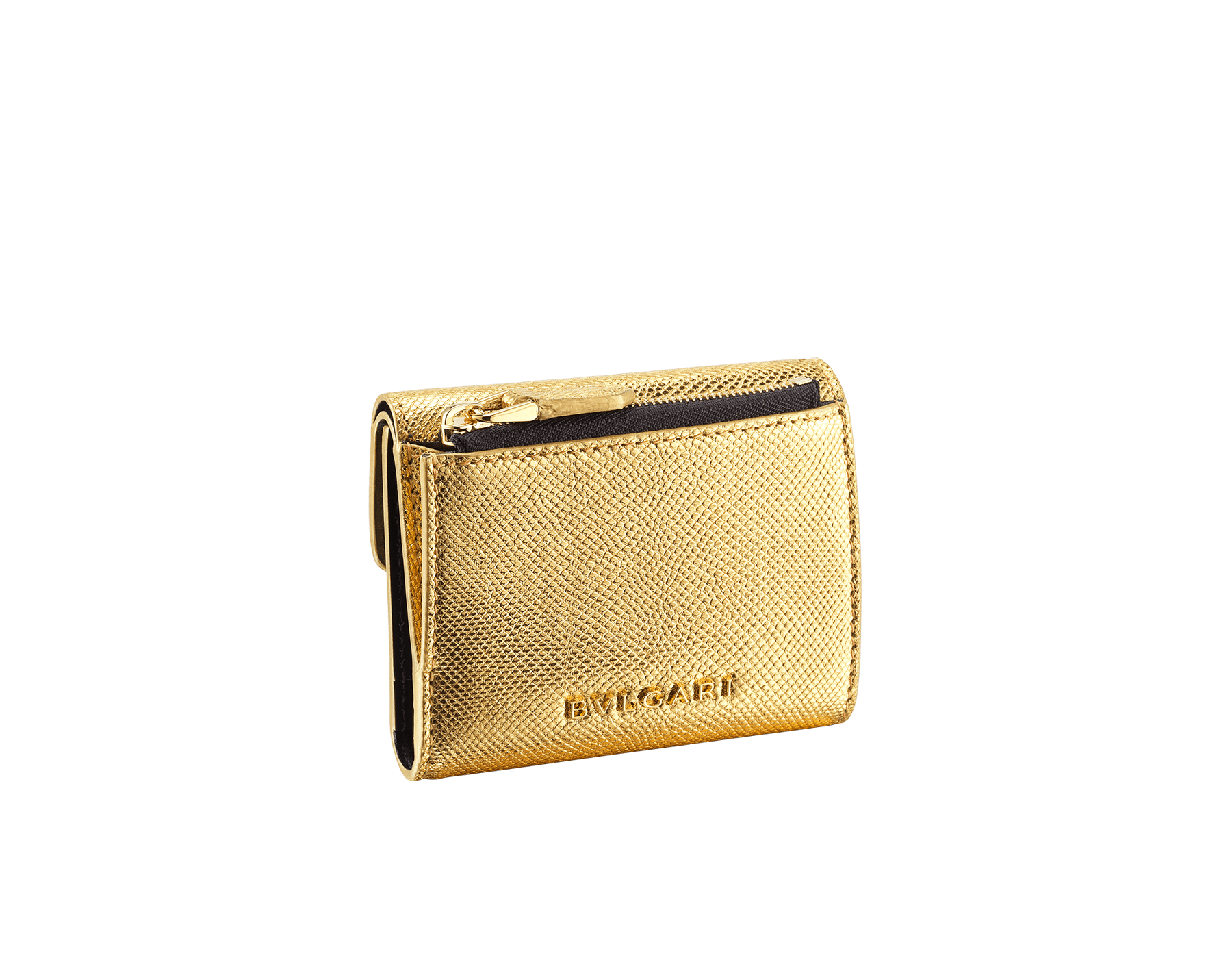 "Slender, compact ""Serpenti Forever"" wallet in ""Molten"" gold karung skin and black calfskin, offering a touch of radiance for the Winter Holidays. New Serpenti head closure in gold-plated brass, complete with ruby-red enamel eyes. SEA-SLIMCOMPACT-MoltK image 3"