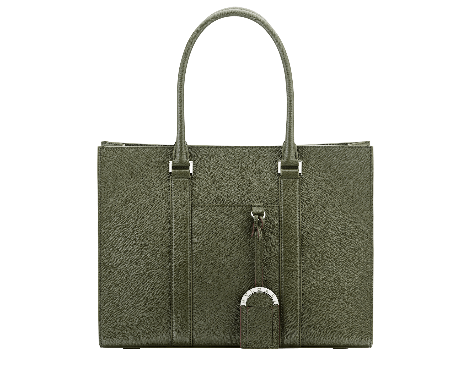 """BVLGARI BVLGARI"" tote bag in mimetic jade grain calf leather with brass palladium plated hardware. BBM-001-0623M image 1"